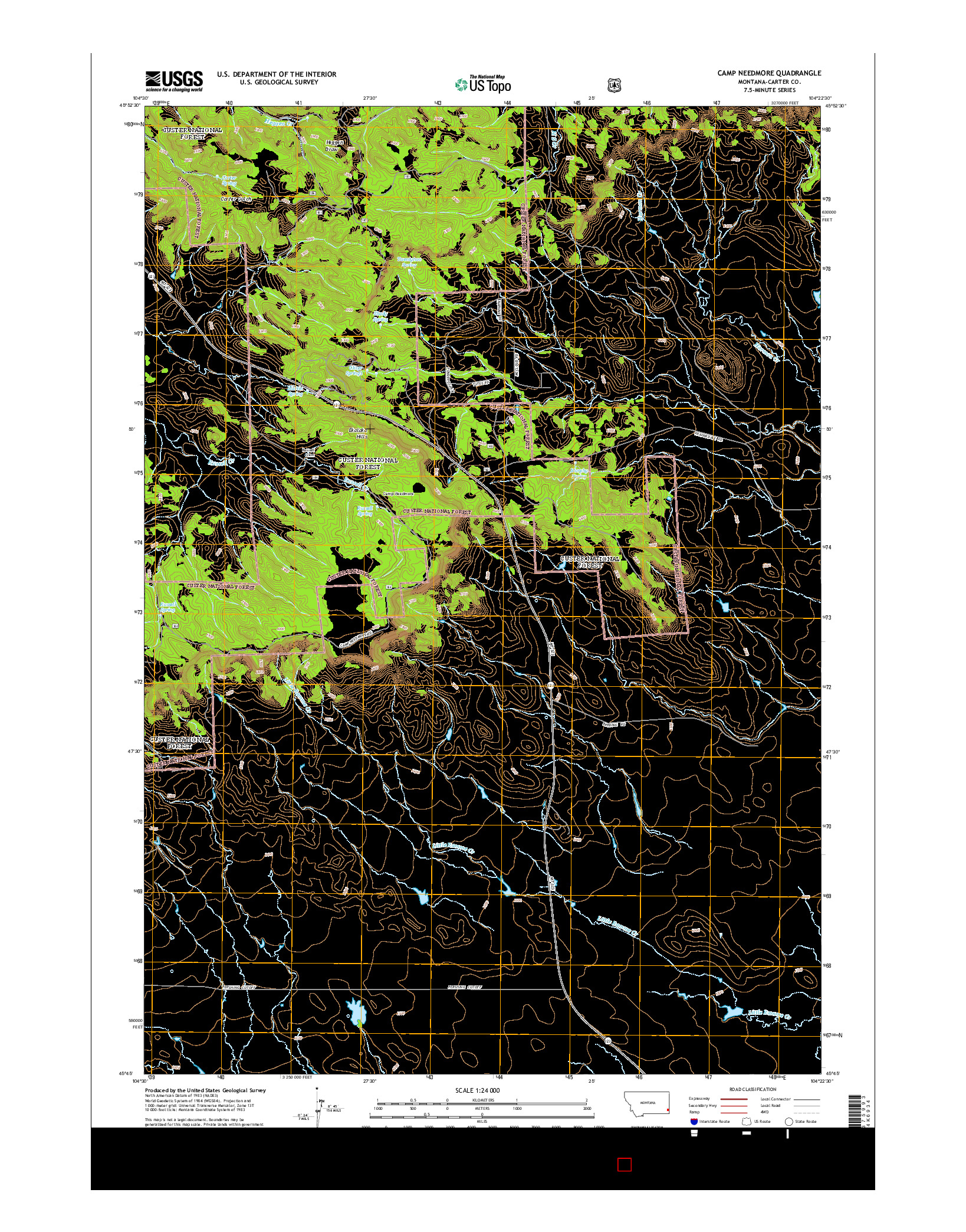 USGS US TOPO 7.5-MINUTE MAP FOR CAMP NEEDMORE, MT 2014