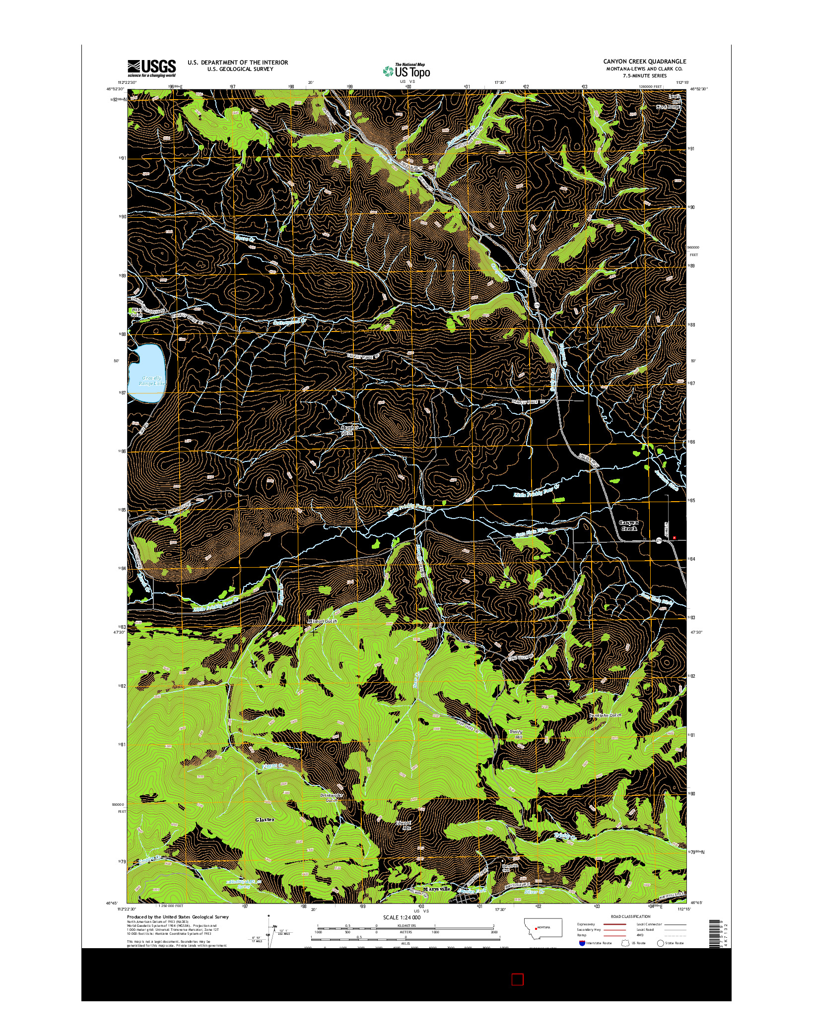 USGS US TOPO 7.5-MINUTE MAP FOR CANYON CREEK, MT 2014