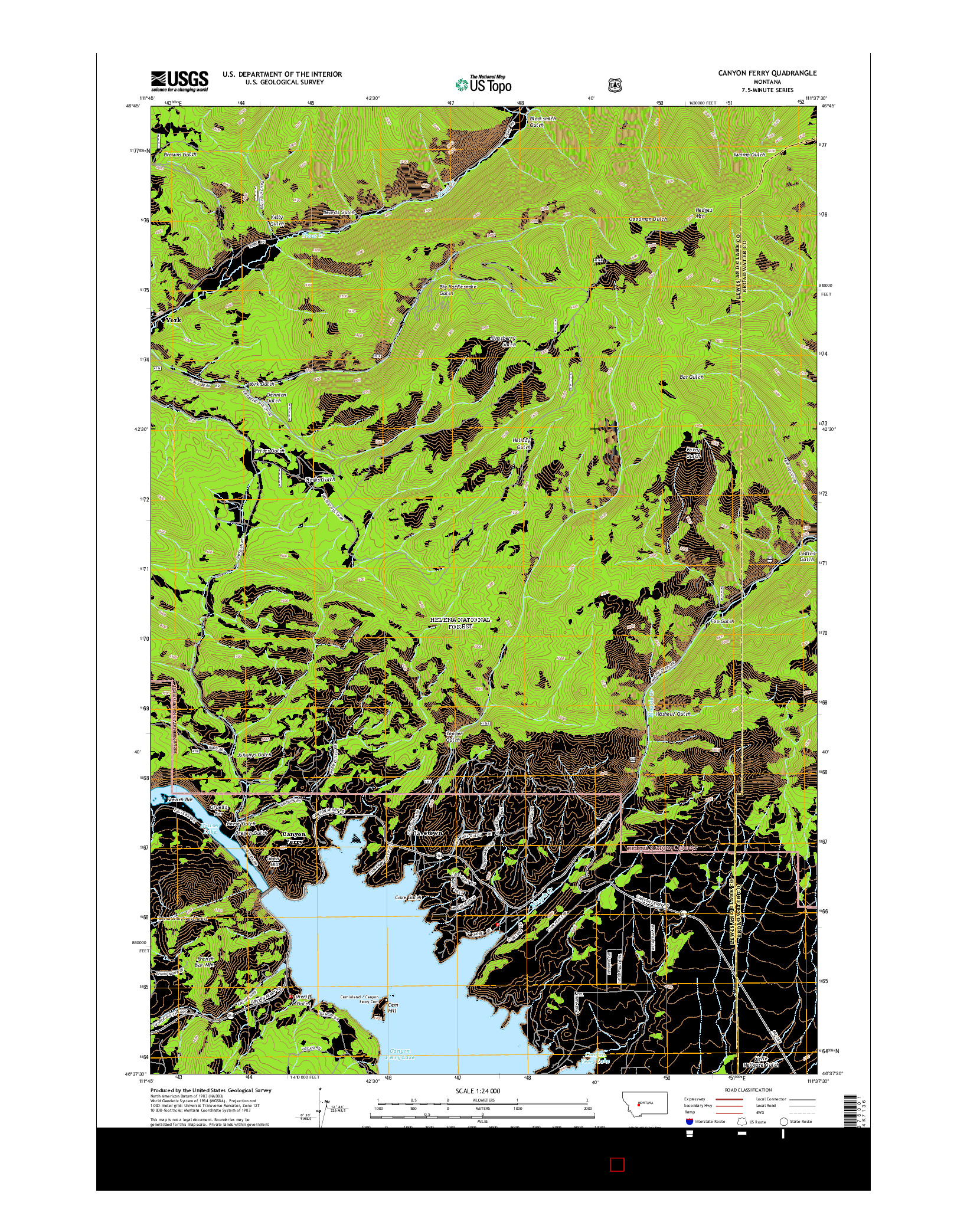 USGS US TOPO 7.5-MINUTE MAP FOR CANYON FERRY, MT 2014
