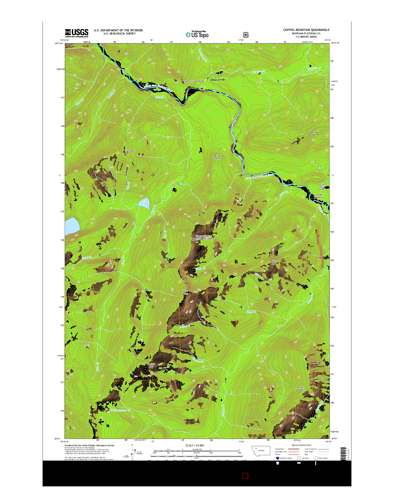 USGS US TOPO 7.5-MINUTE MAP FOR CAPITOL MOUNTAIN, MT 2014