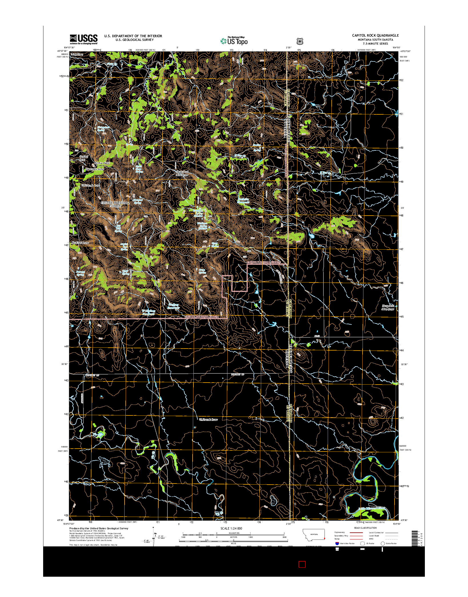 USGS US TOPO 7.5-MINUTE MAP FOR CAPITOL ROCK, MT-SD 2014
