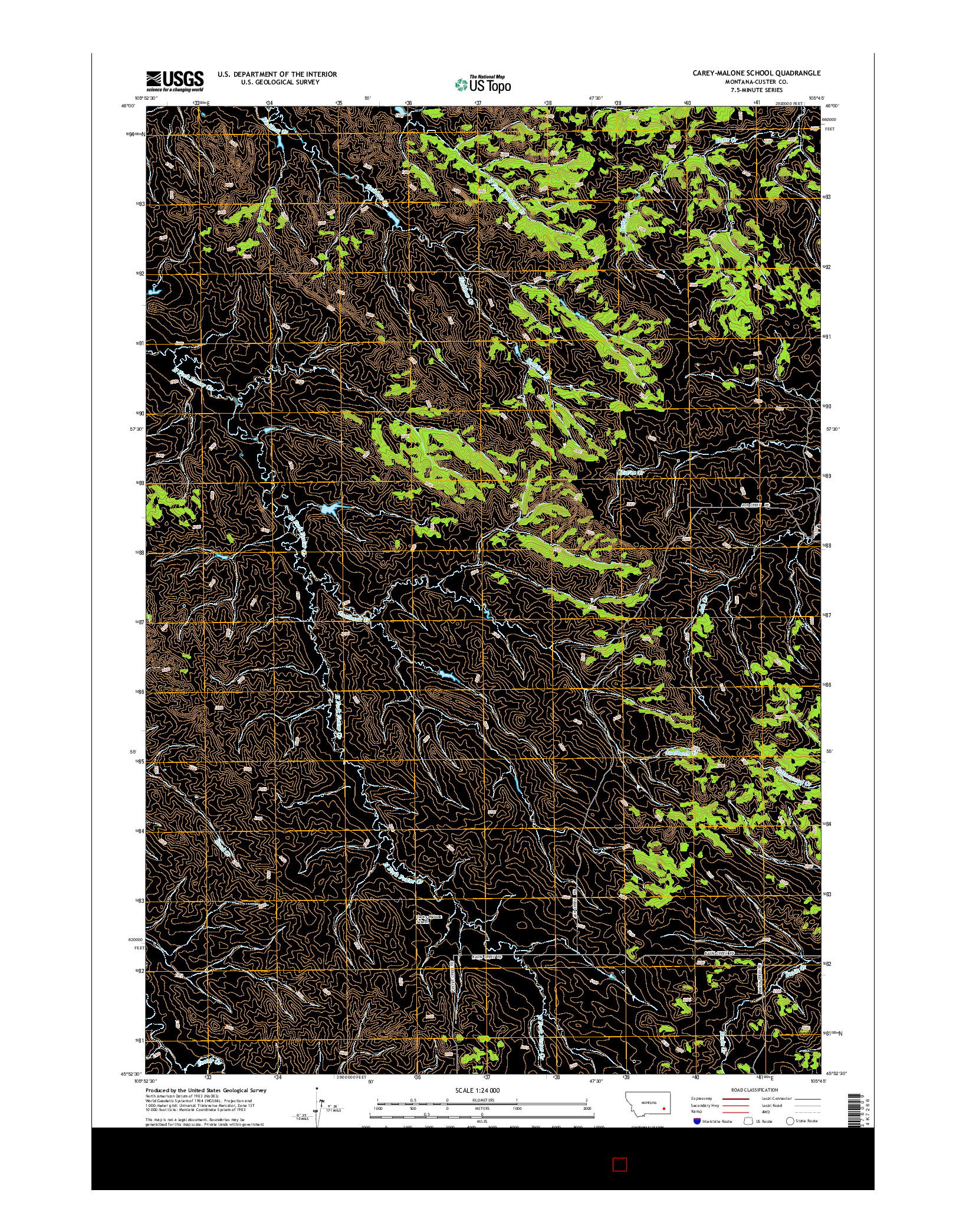 USGS US TOPO 7.5-MINUTE MAP FOR CAREY-MALONE SCHOOL, MT 2014