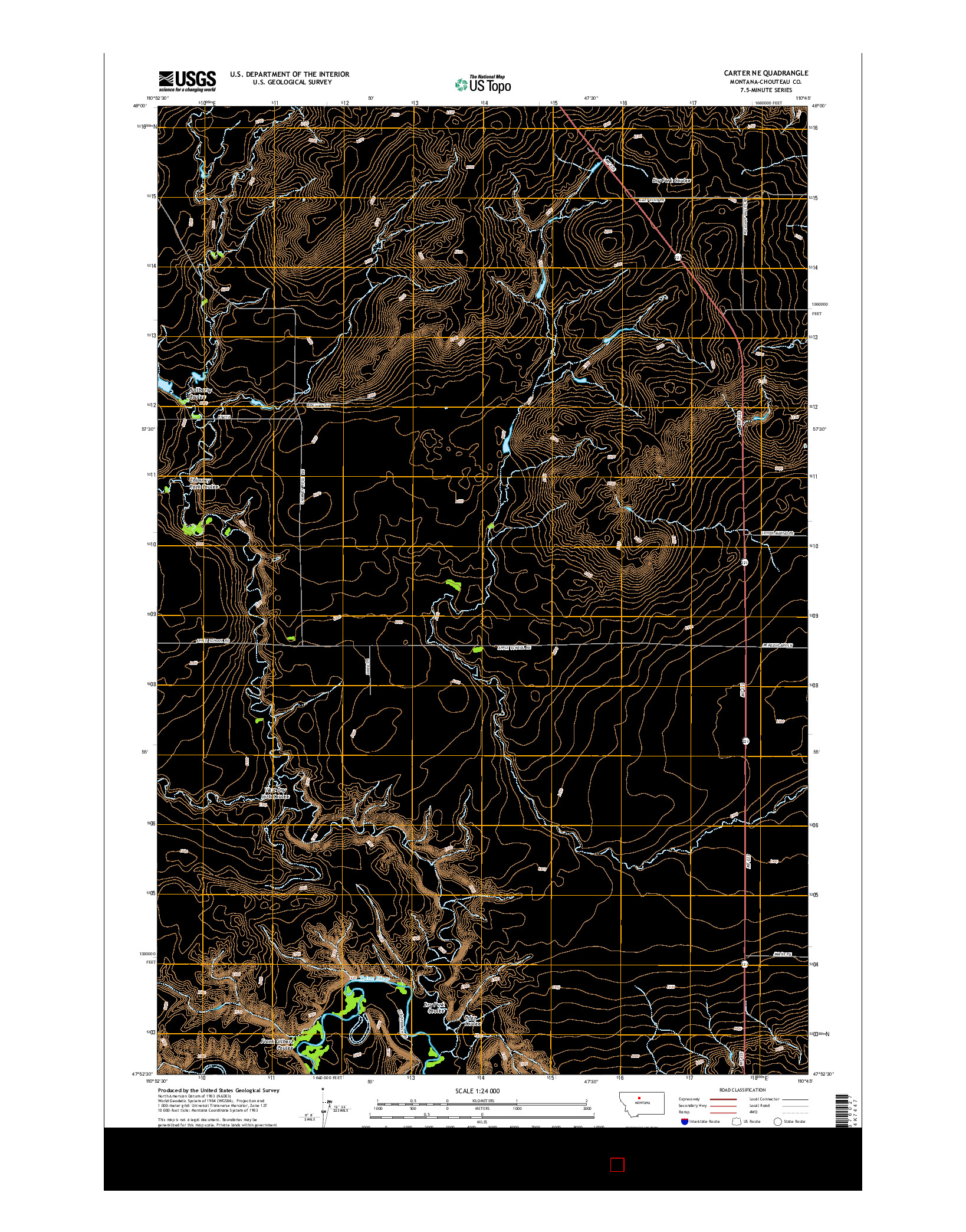 USGS US TOPO 7.5-MINUTE MAP FOR CARTER NE, MT 2014