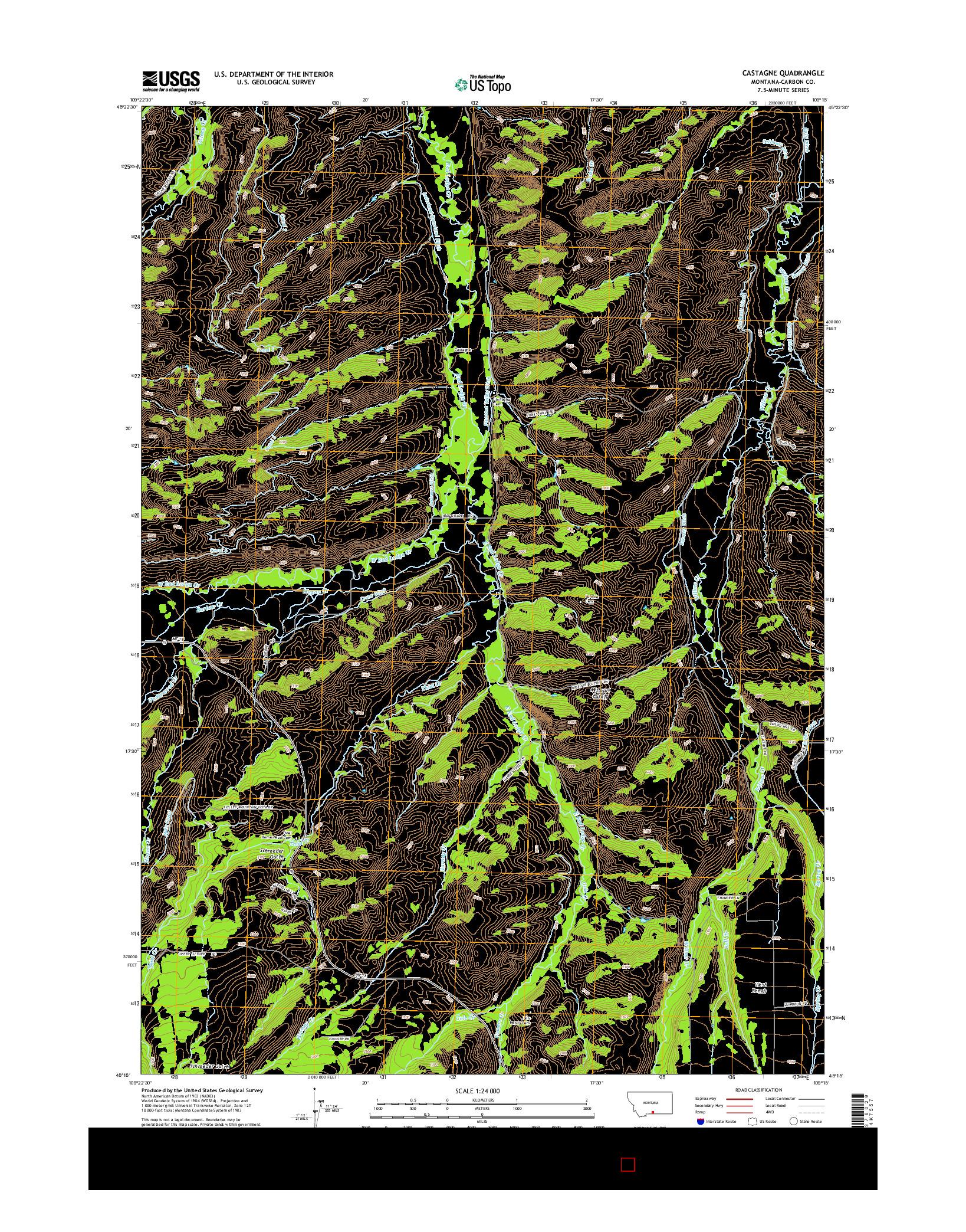 USGS US TOPO 7.5-MINUTE MAP FOR CASTAGNE, MT 2014