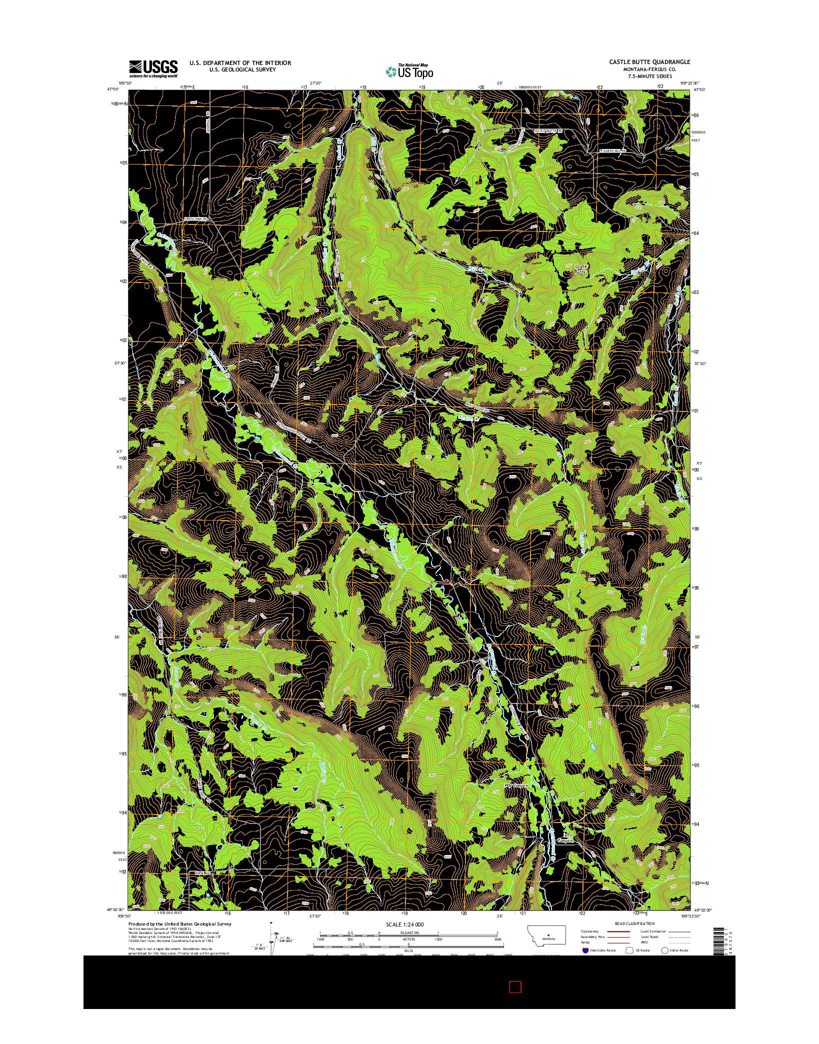 USGS US TOPO 7.5-MINUTE MAP FOR CASTLE BUTTE, MT 2014