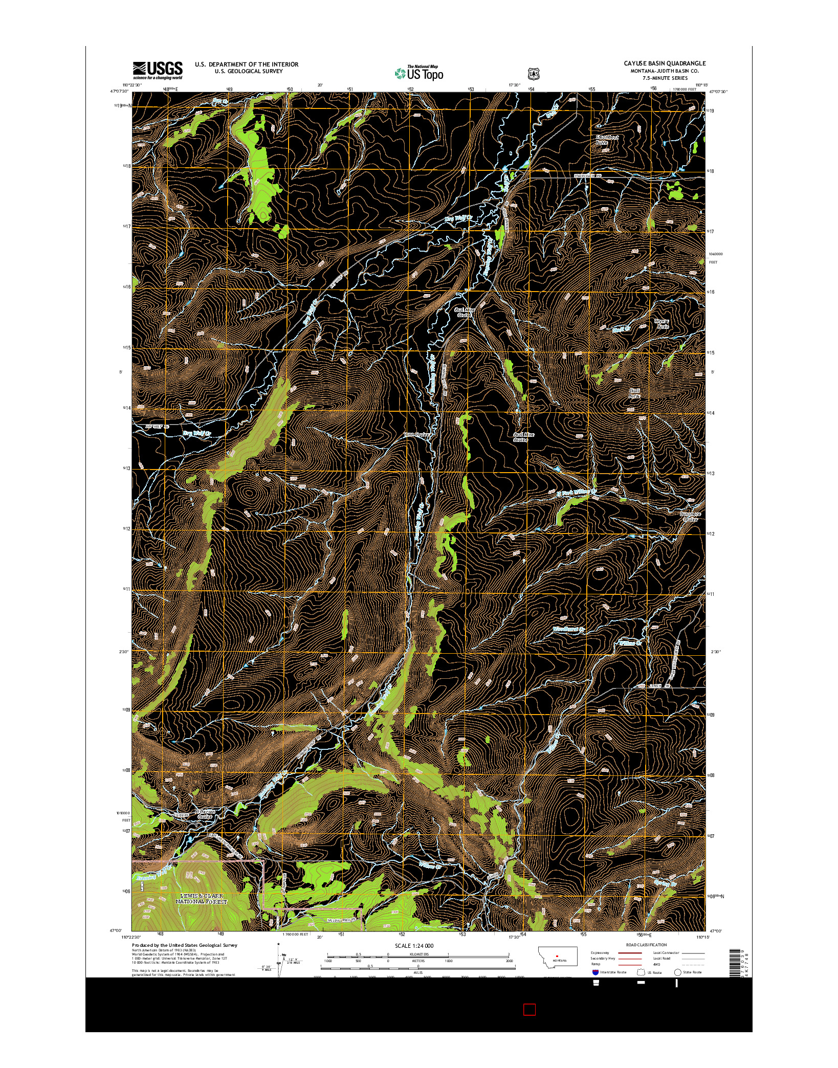 USGS US TOPO 7.5-MINUTE MAP FOR CAYUSE BASIN, MT 2014