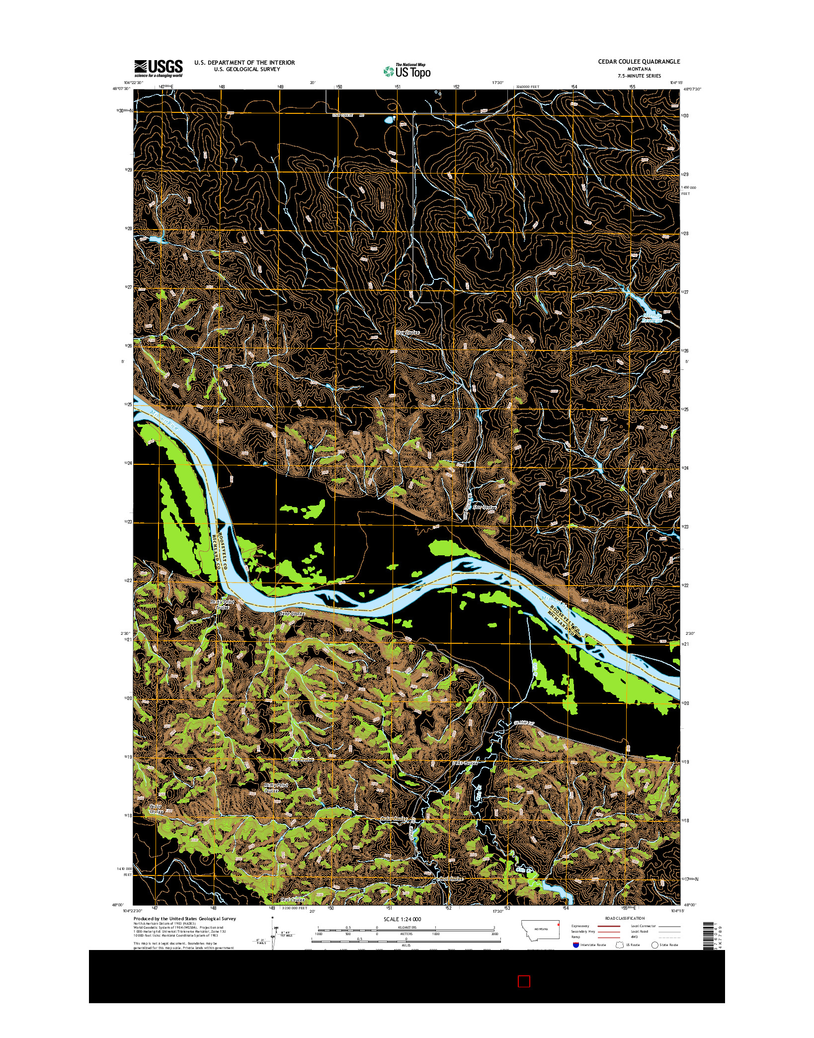 USGS US TOPO 7.5-MINUTE MAP FOR CEDAR COULEE, MT 2014