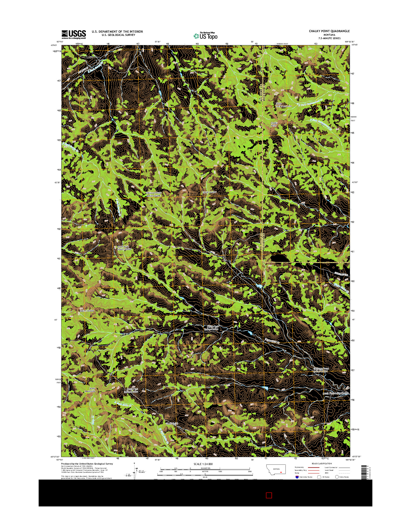 USGS US TOPO 7.5-MINUTE MAP FOR CHALKY POINT, MT 2014