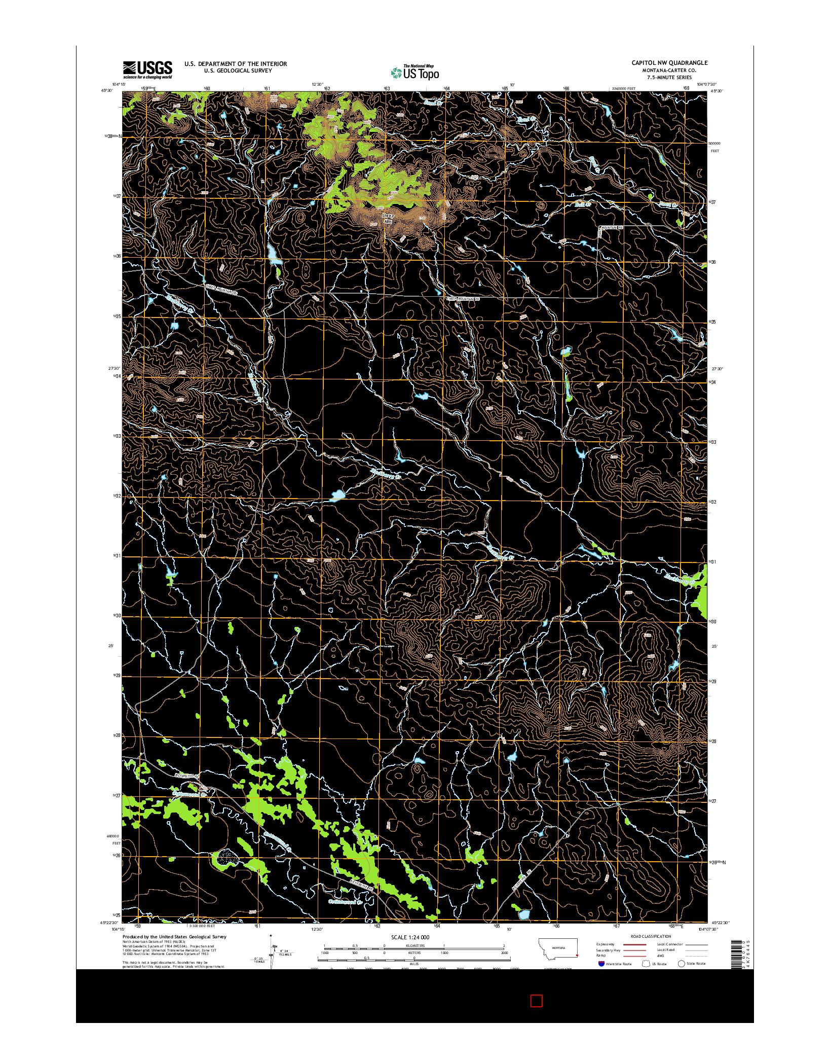 USGS US TOPO 7.5-MINUTE MAP FOR CAPITOL NW, MT 2014