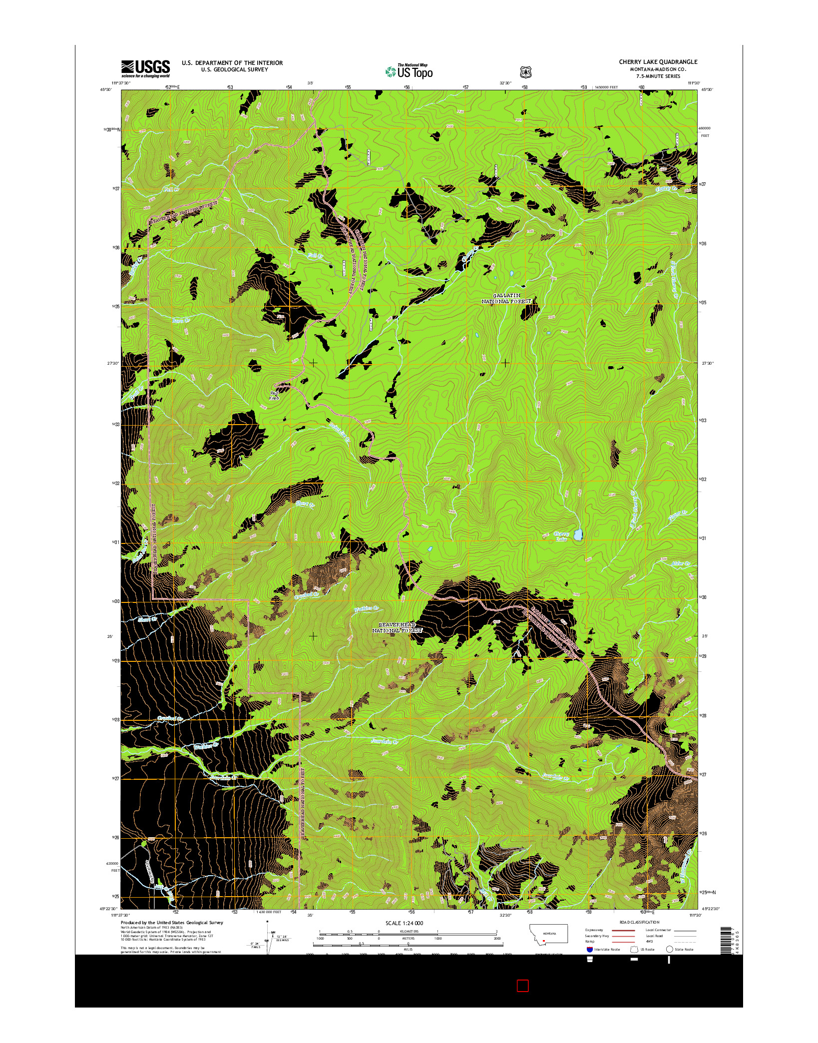 USGS US TOPO 7.5-MINUTE MAP FOR CHERRY LAKE, MT 2014