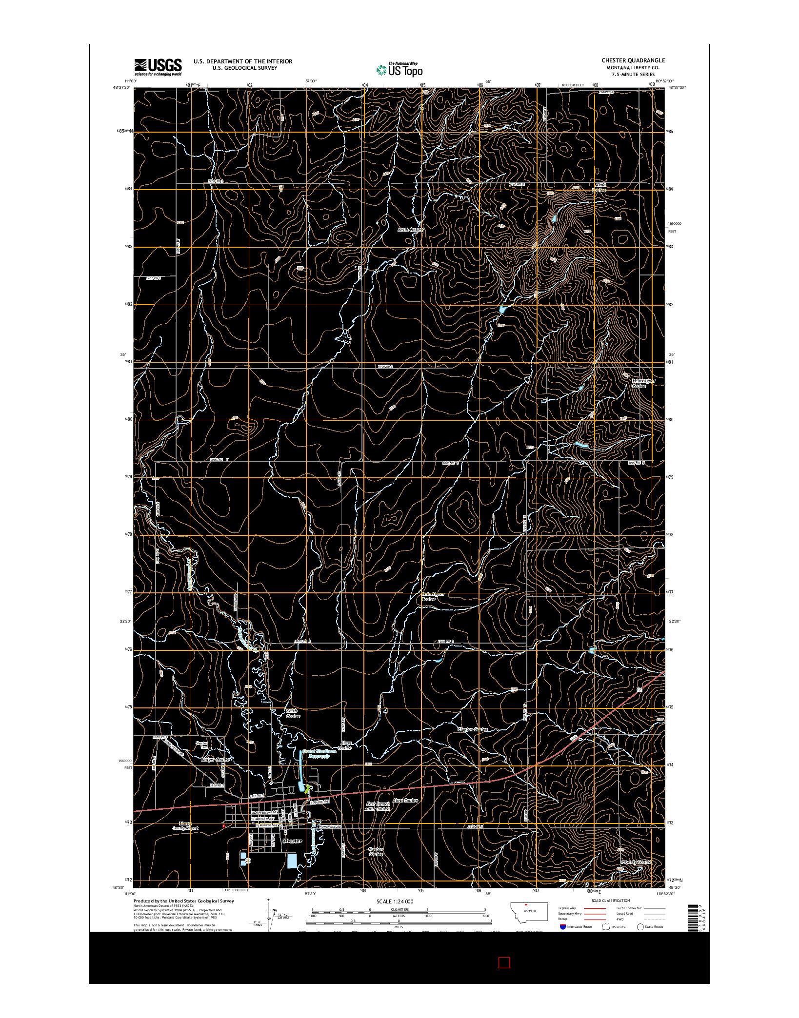 USGS US TOPO 7.5-MINUTE MAP FOR CHESTER, MT 2014