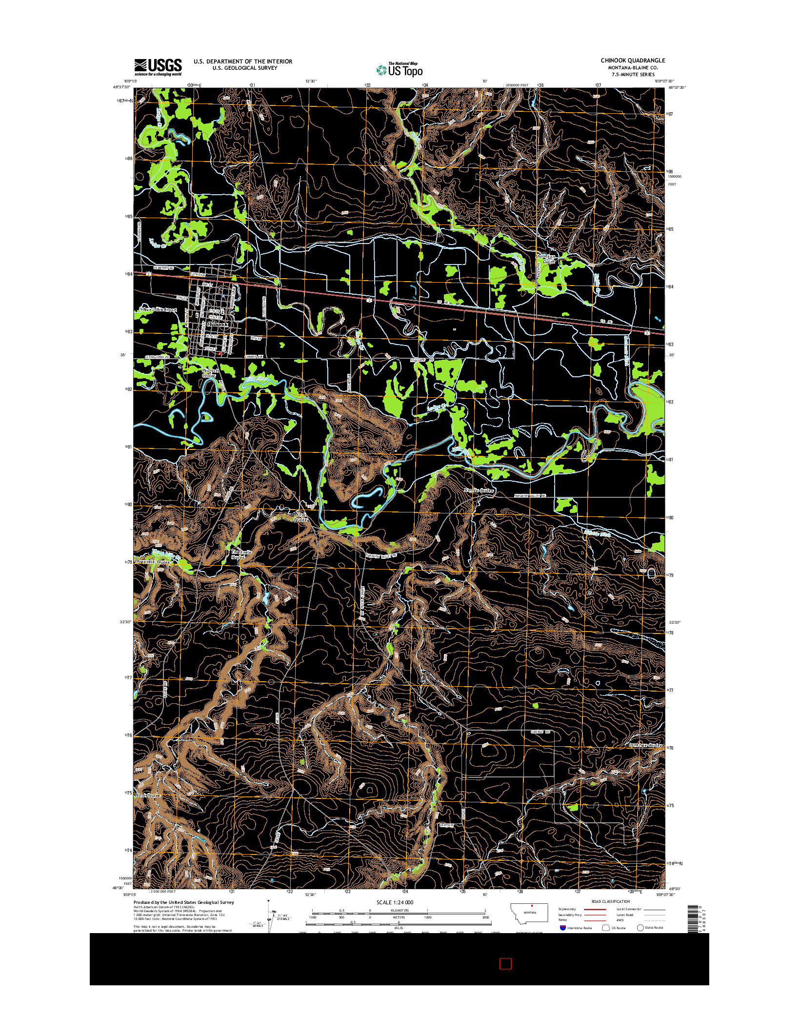 USGS US TOPO 7.5-MINUTE MAP FOR CHINOOK, MT 2014