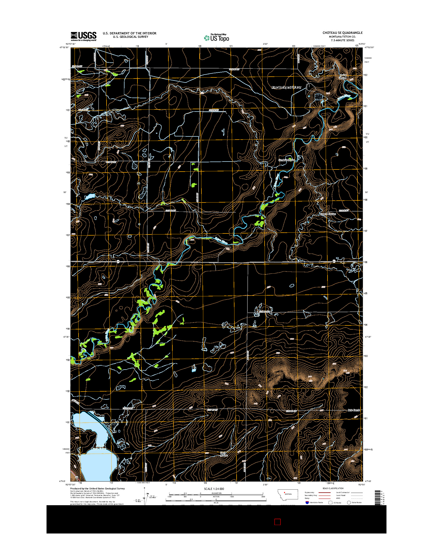 USGS US TOPO 7.5-MINUTE MAP FOR CHOTEAU SE, MT 2014
