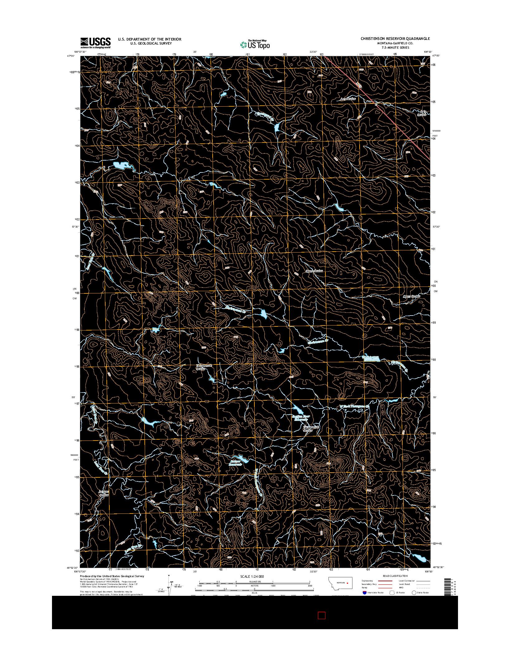 USGS US TOPO 7.5-MINUTE MAP FOR CHRISTENSON RESERVOIR, MT 2014