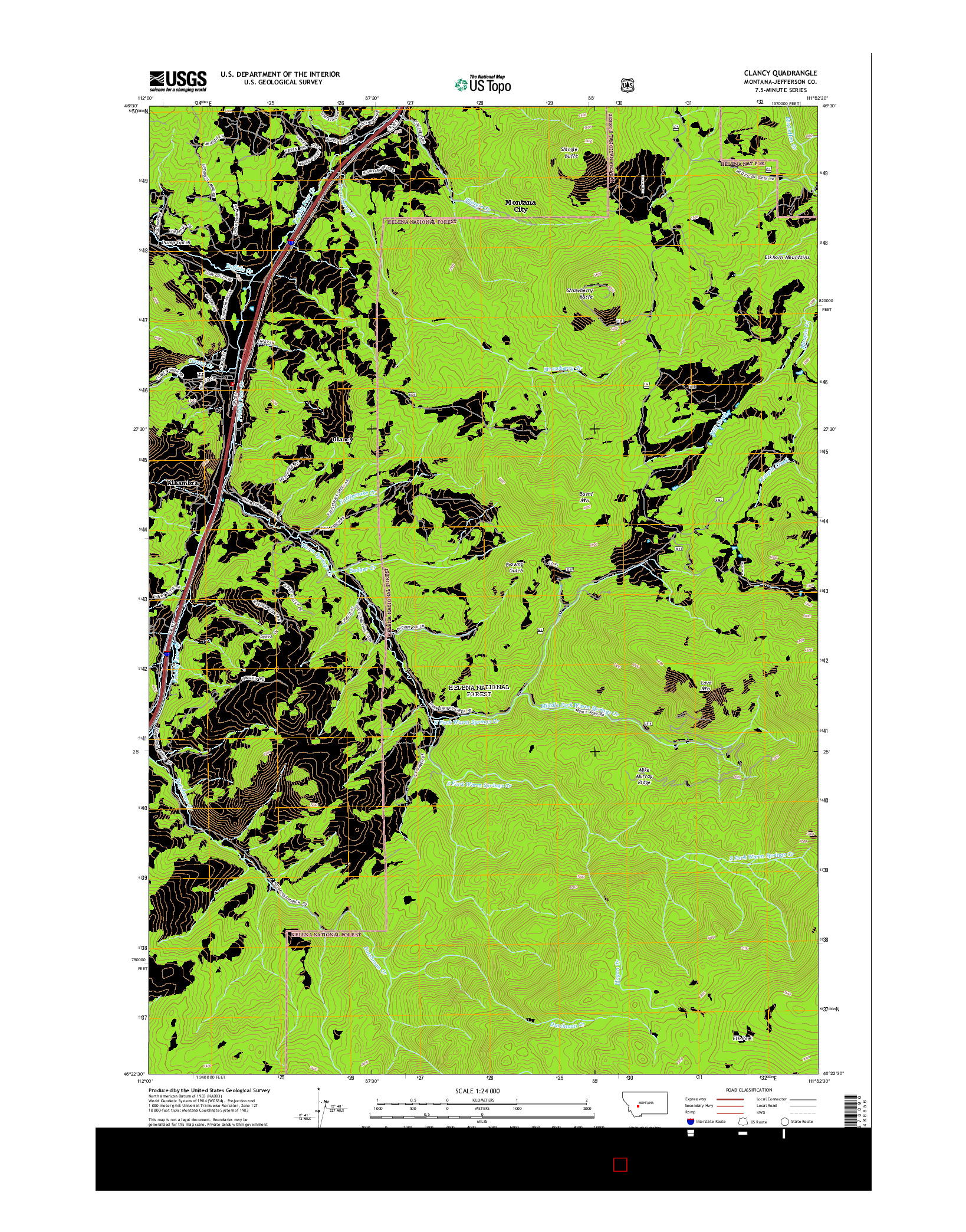 USGS US TOPO 7.5-MINUTE MAP FOR CLANCY, MT 2014
