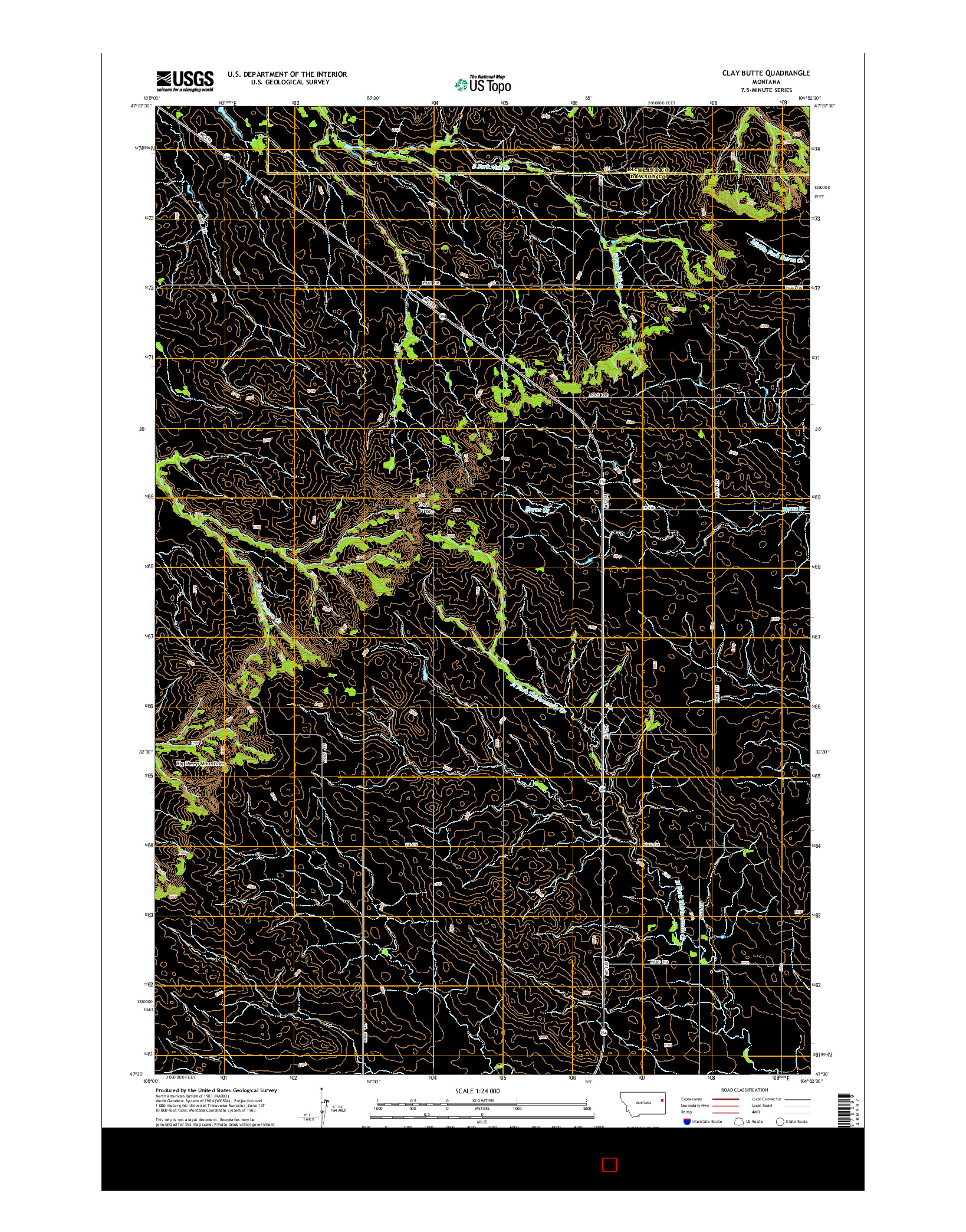 USGS US TOPO 7.5-MINUTE MAP FOR CLAY BUTTE, MT 2014