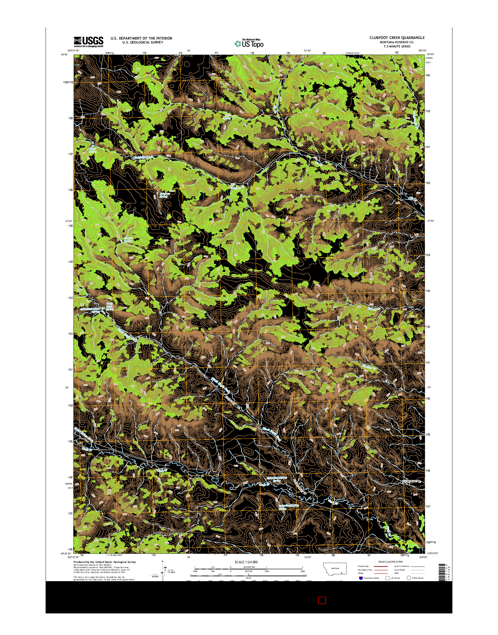 USGS US TOPO 7.5-MINUTE MAP FOR CLUBFOOT CREEK, MT 2014