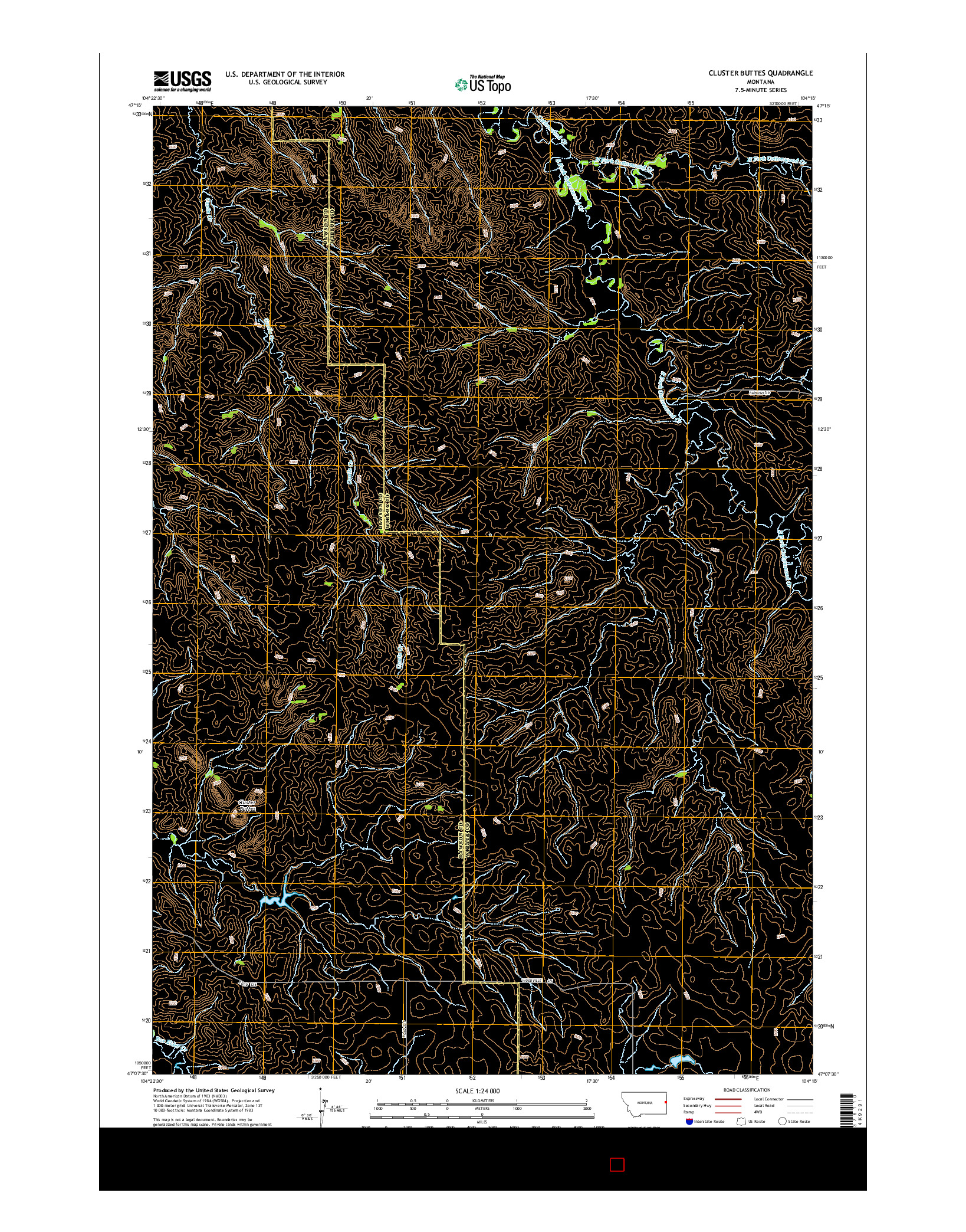 USGS US TOPO 7.5-MINUTE MAP FOR CLUSTER BUTTES, MT 2014