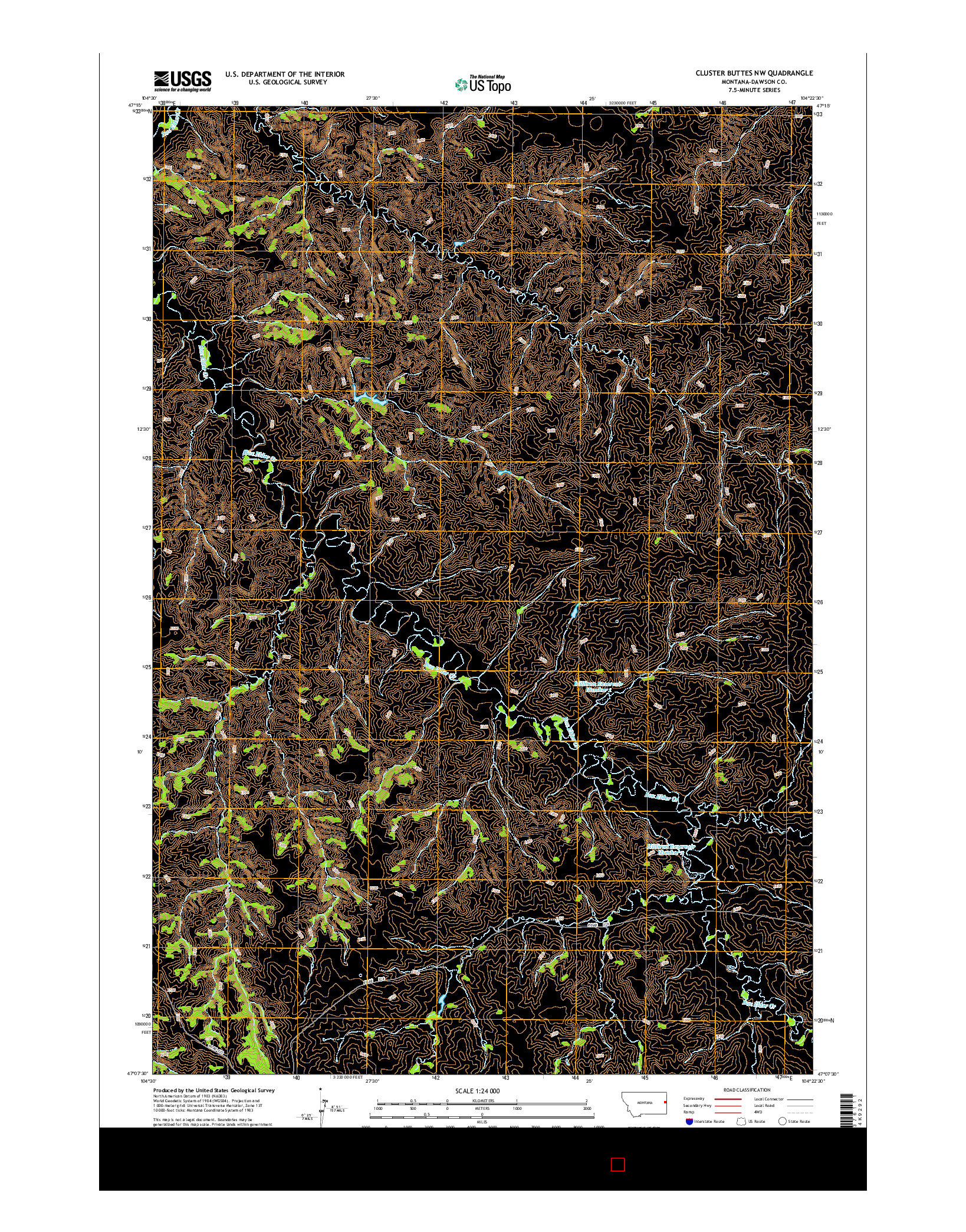 USGS US TOPO 7.5-MINUTE MAP FOR CLUSTER BUTTES NW, MT 2014