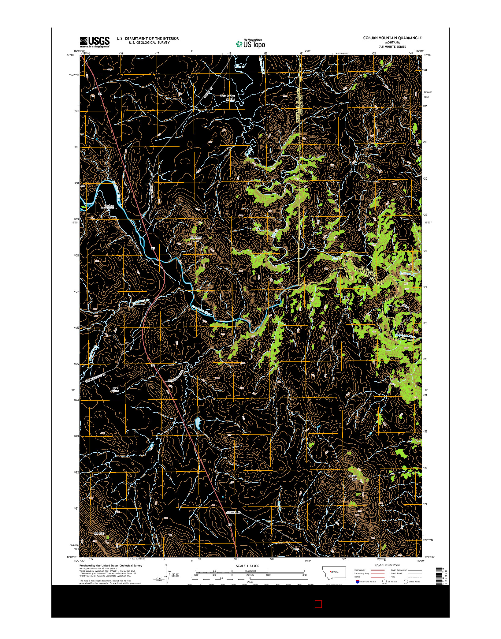USGS US TOPO 7.5-MINUTE MAP FOR COBURN MOUNTAIN, MT 2014