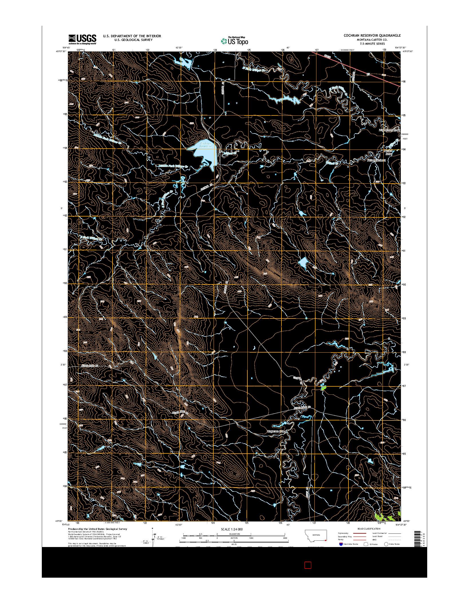 USGS US TOPO 7.5-MINUTE MAP FOR COCHRAN RESERVOIR, MT 2014