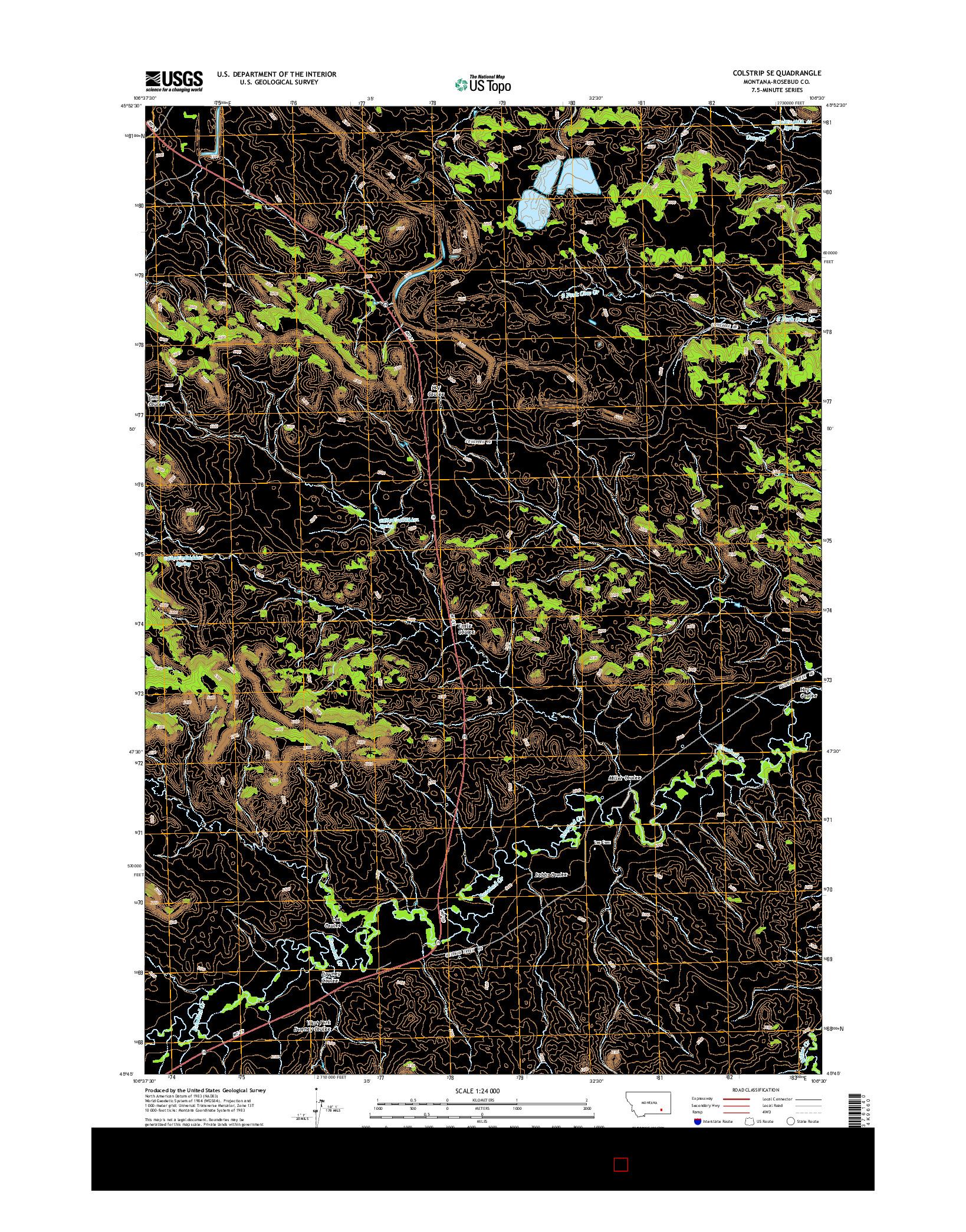 USGS US TOPO 7.5-MINUTE MAP FOR COLSTRIP SE, MT 2014