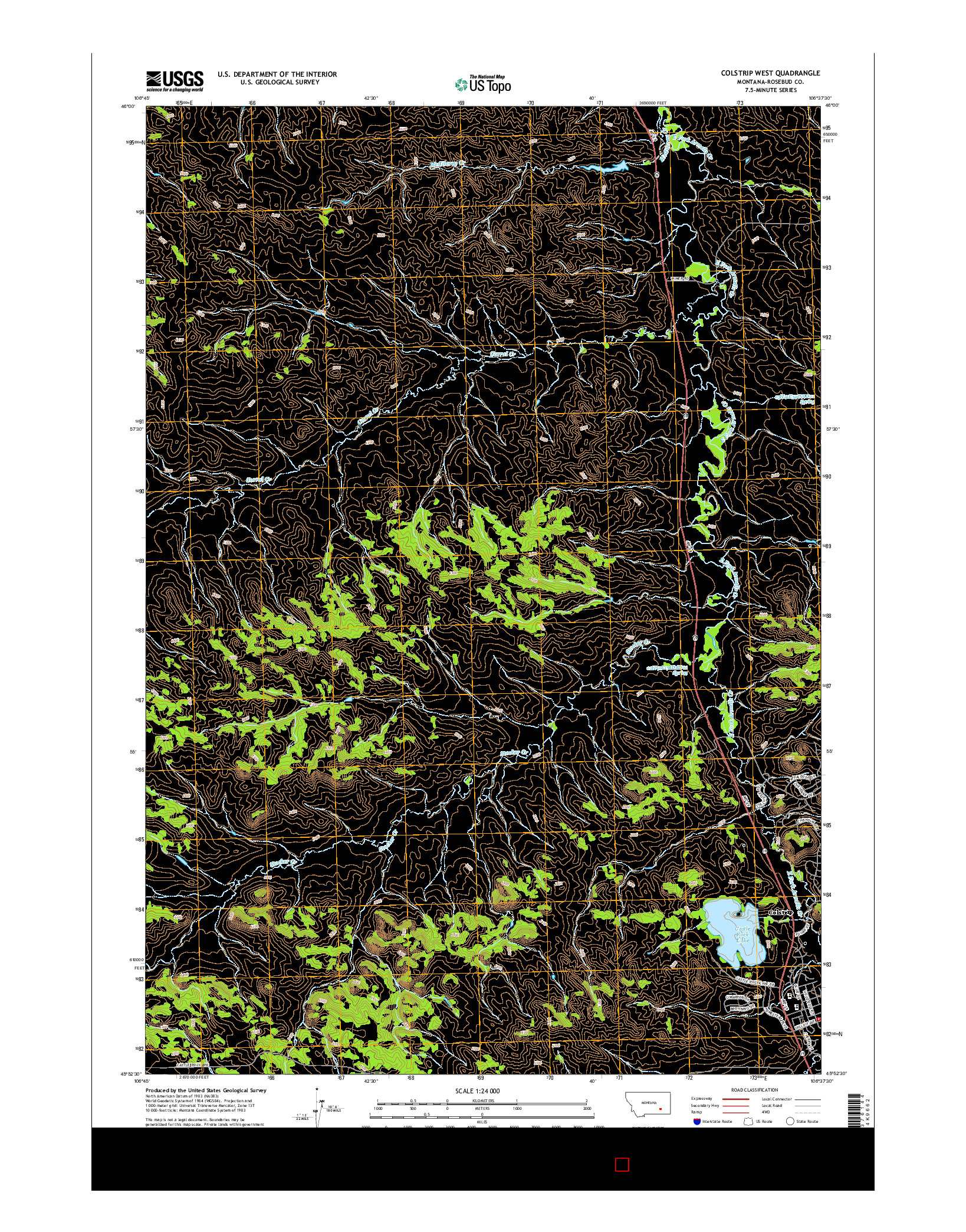 USGS US TOPO 7.5-MINUTE MAP FOR COLSTRIP WEST, MT 2014