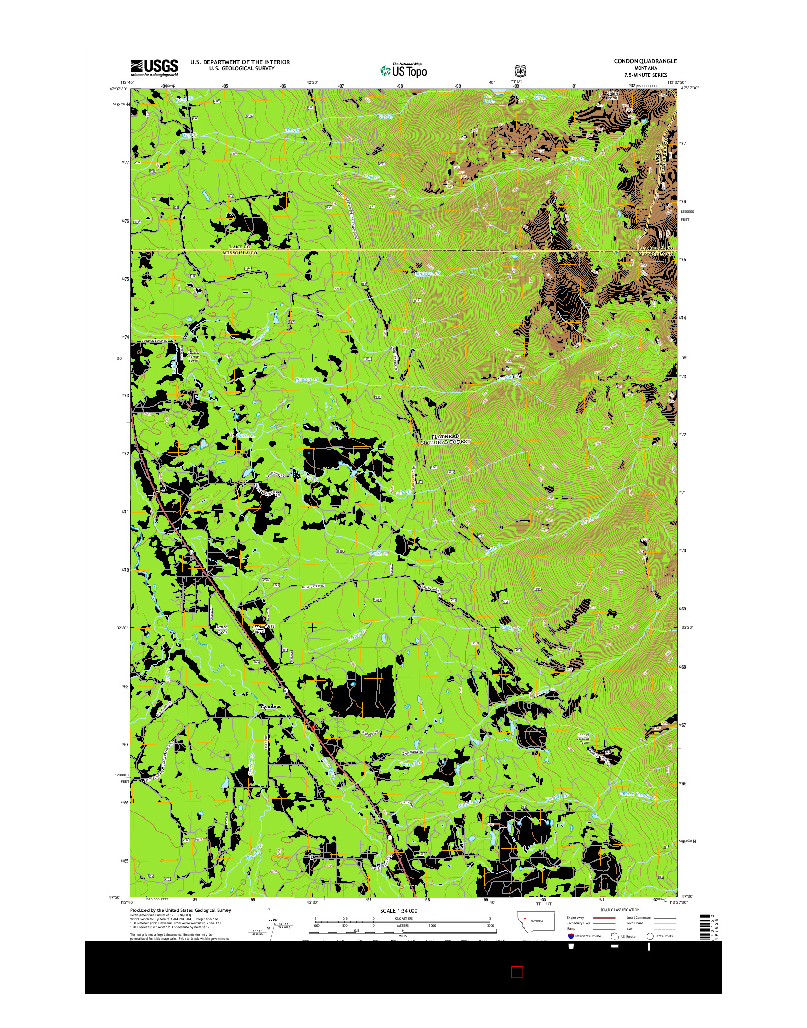 USGS US TOPO 7.5-MINUTE MAP FOR CONDON, MT 2014