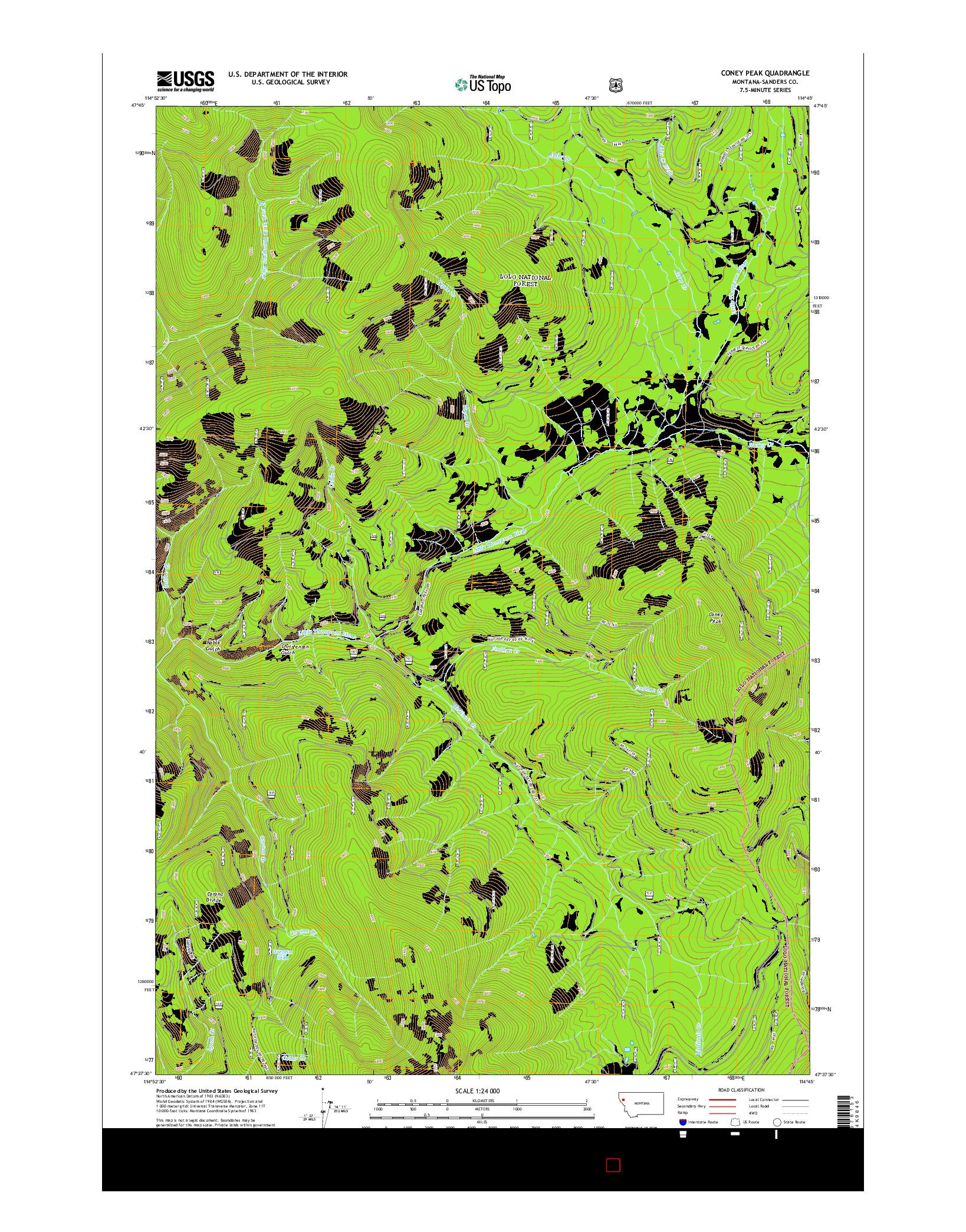 USGS US TOPO 7.5-MINUTE MAP FOR CONEY PEAK, MT 2014