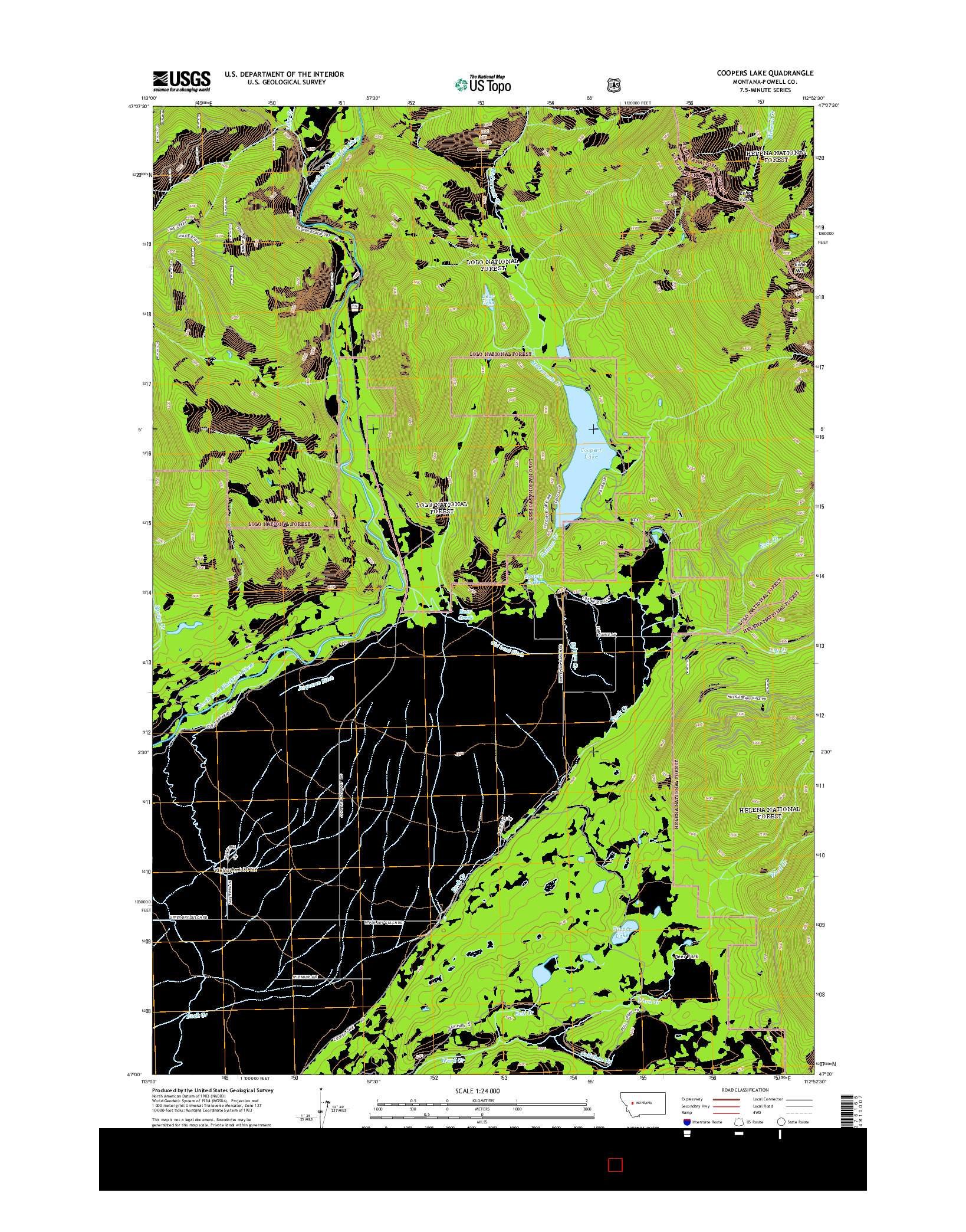 USGS US TOPO 7.5-MINUTE MAP FOR COOPERS LAKE, MT 2014