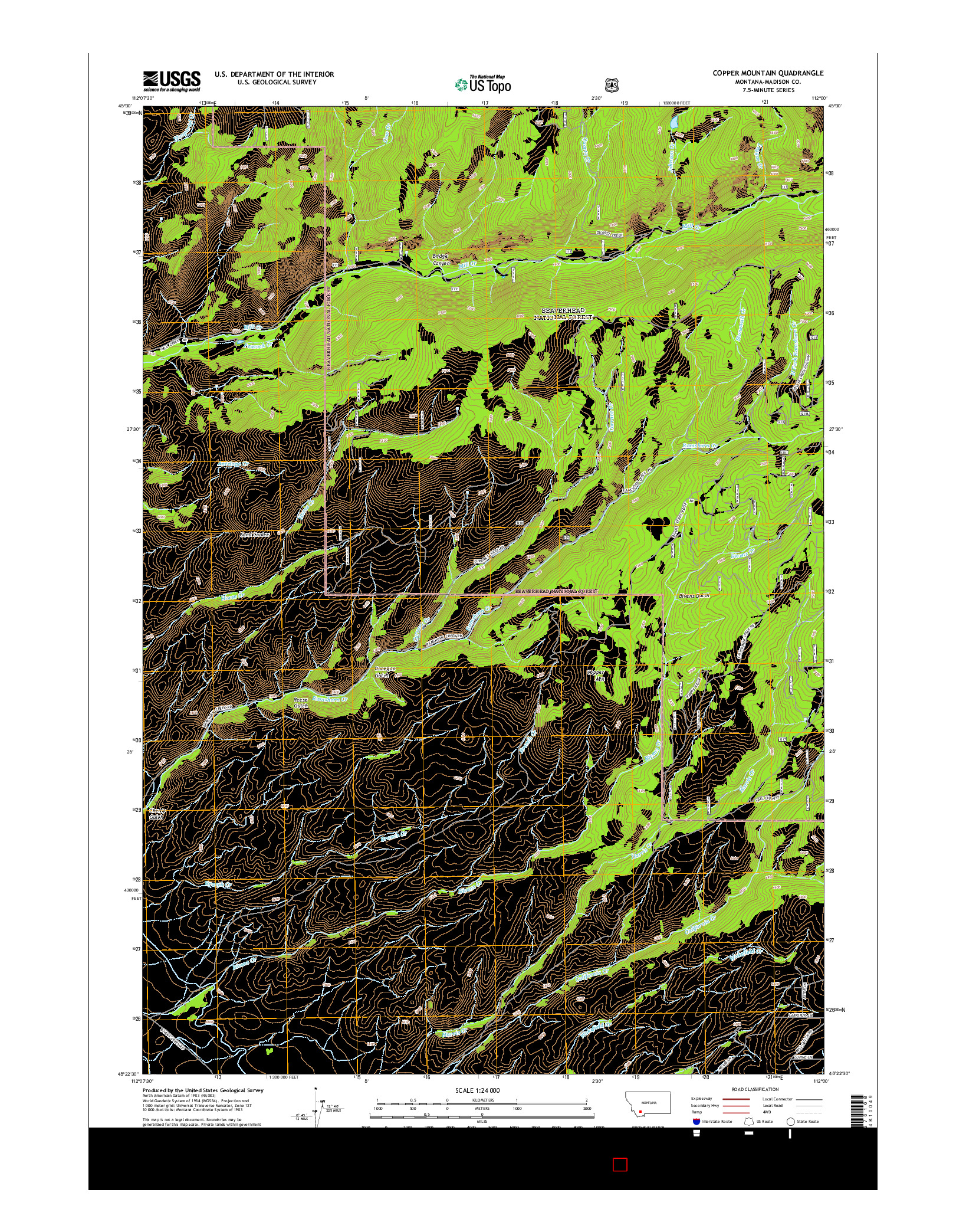 USGS US TOPO 7.5-MINUTE MAP FOR COPPER MOUNTAIN, MT 2014