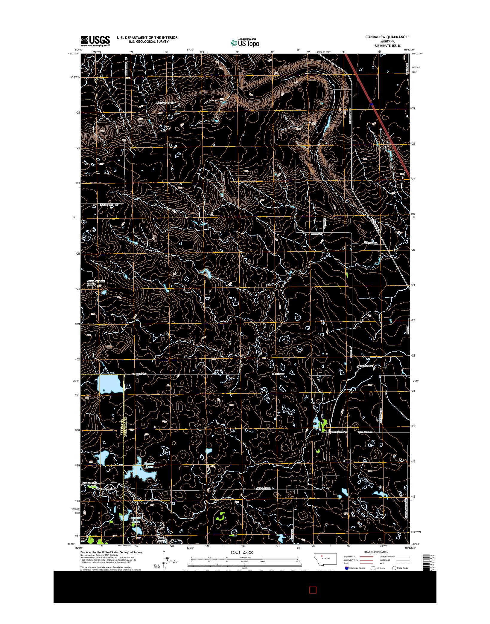 USGS US TOPO 7.5-MINUTE MAP FOR CONRAD SW, MT 2014