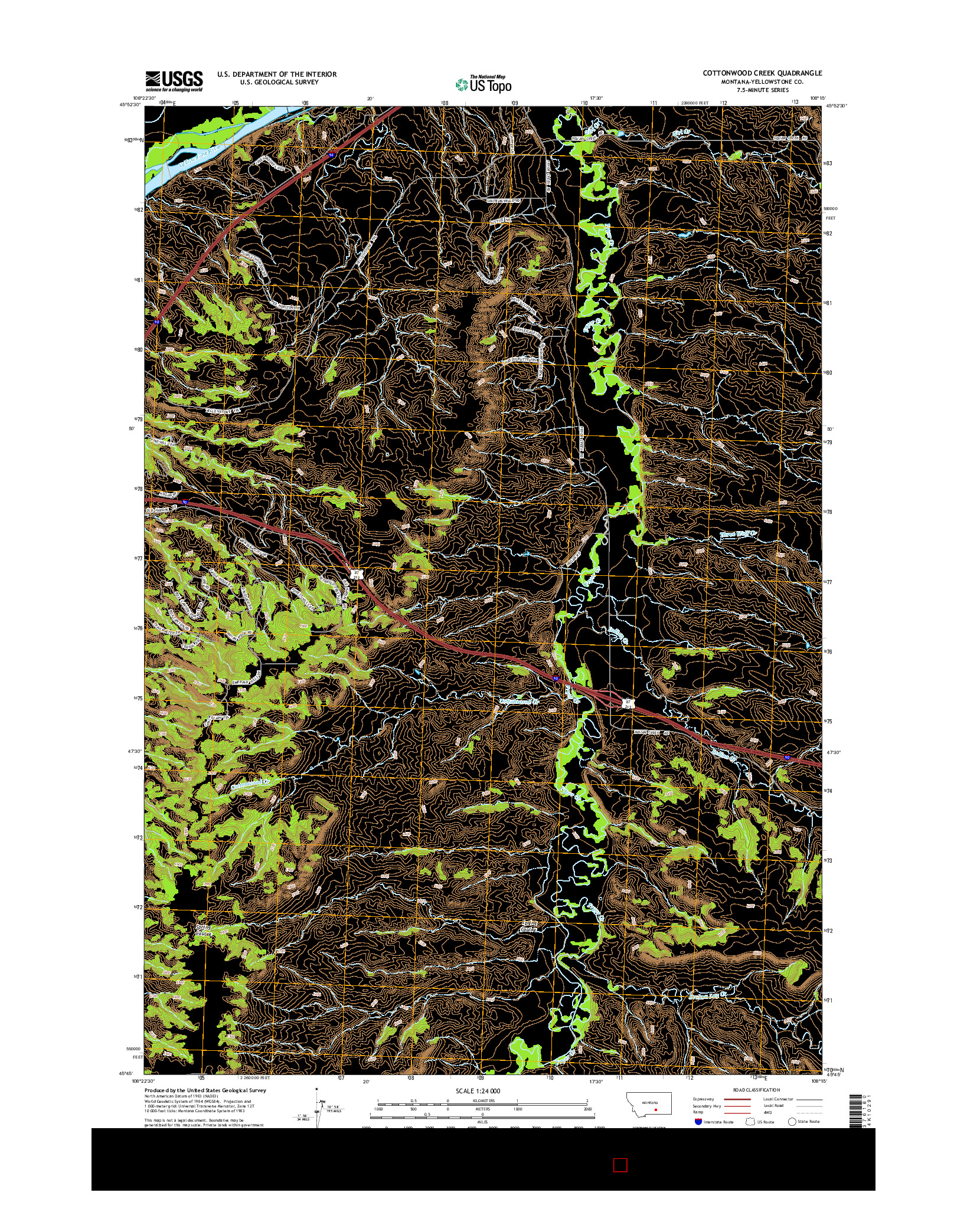USGS US TOPO 7.5-MINUTE MAP FOR COTTONWOOD CREEK, MT 2014