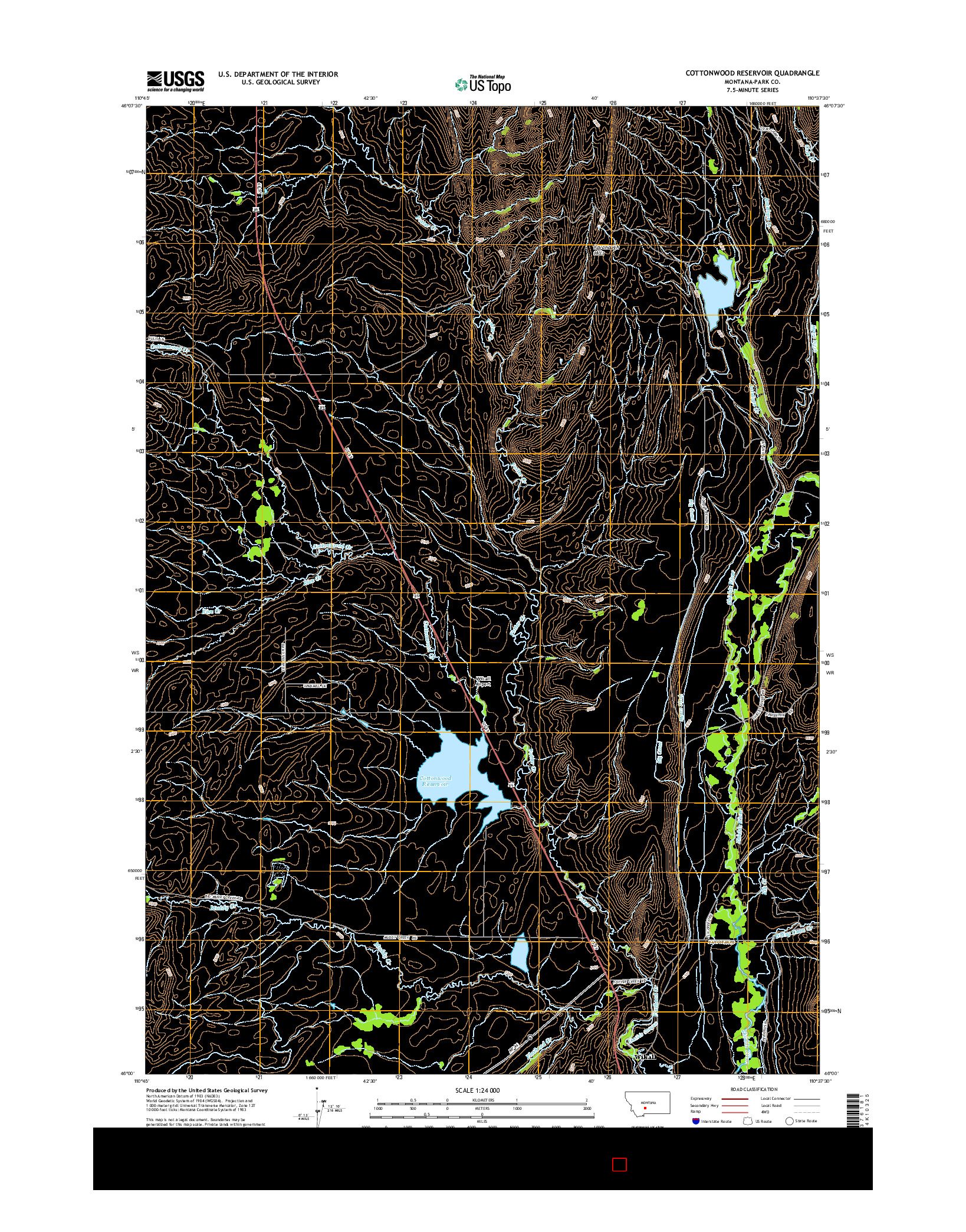 USGS US TOPO 7.5-MINUTE MAP FOR COTTONWOOD RESERVOIR, MT 2014