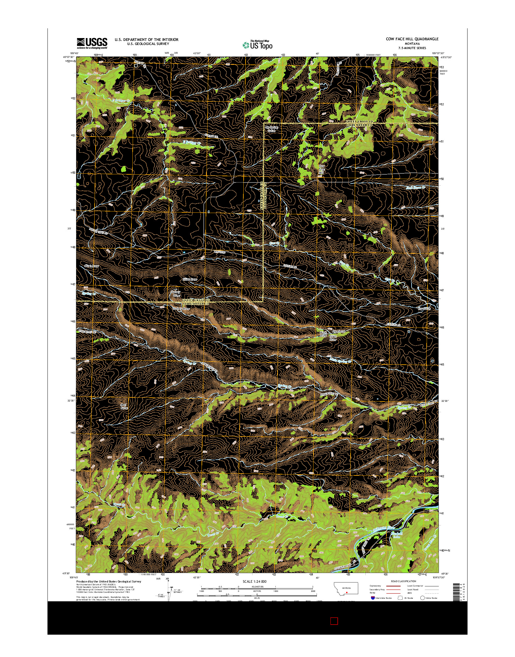 USGS US TOPO 7.5-MINUTE MAP FOR COW FACE HILL, MT 2014