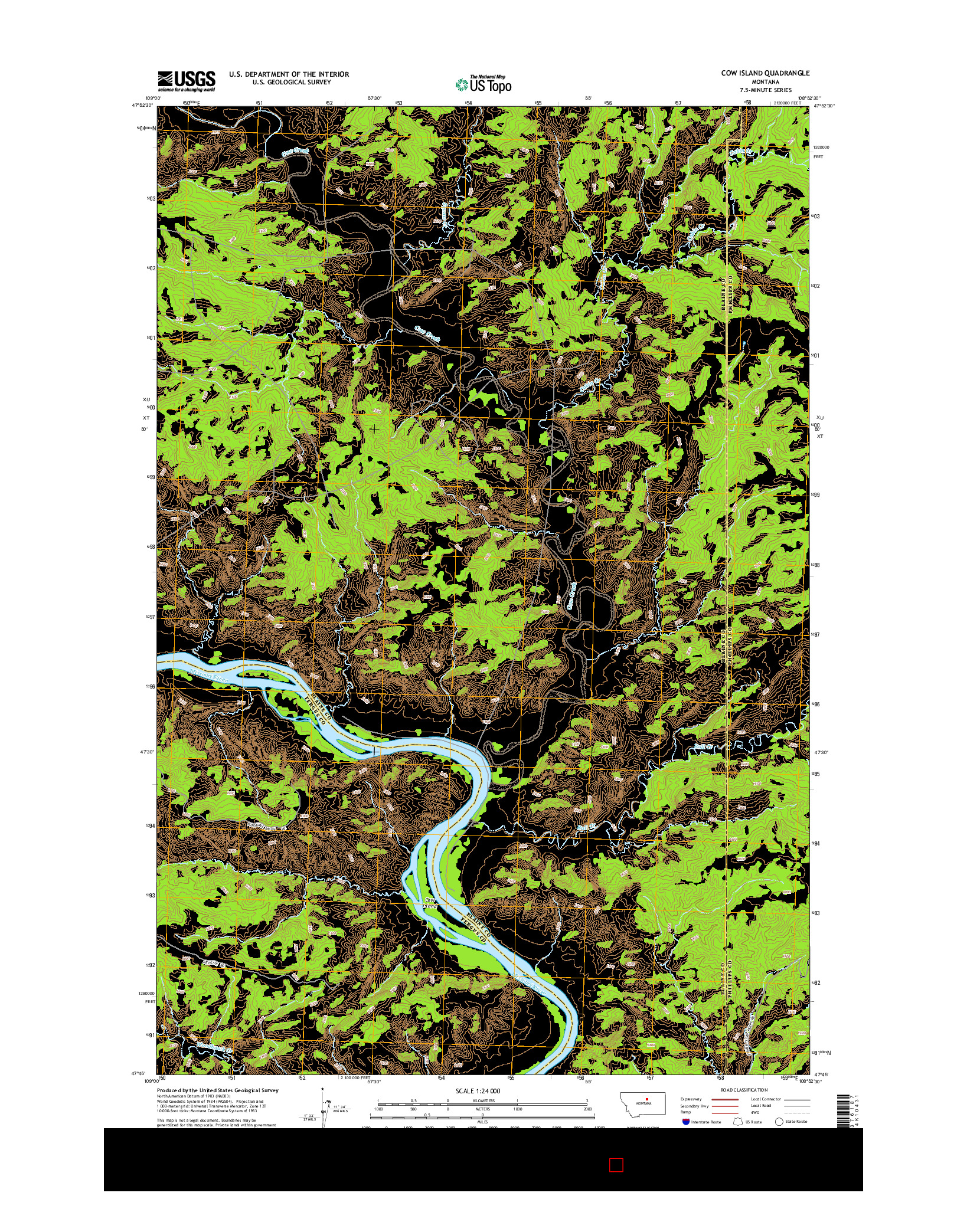 USGS US TOPO 7.5-MINUTE MAP FOR COW ISLAND, MT 2014