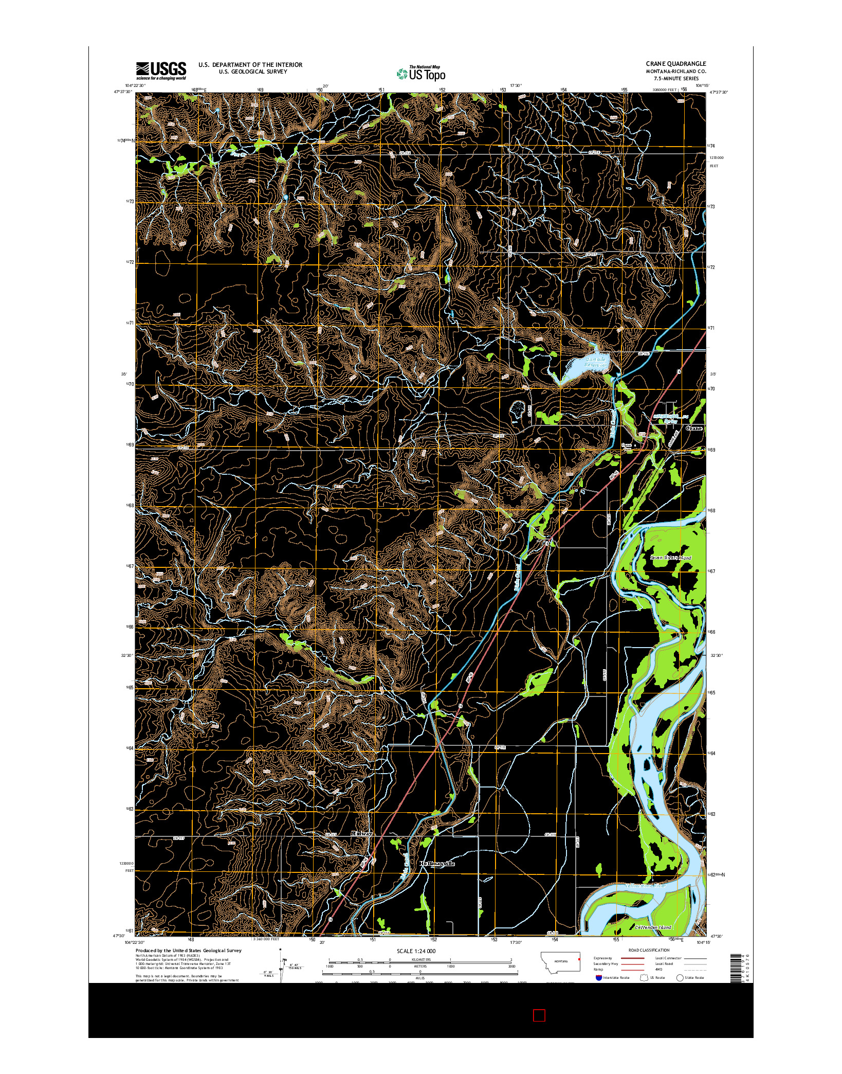 USGS US TOPO 7.5-MINUTE MAP FOR CRANE, MT 2014