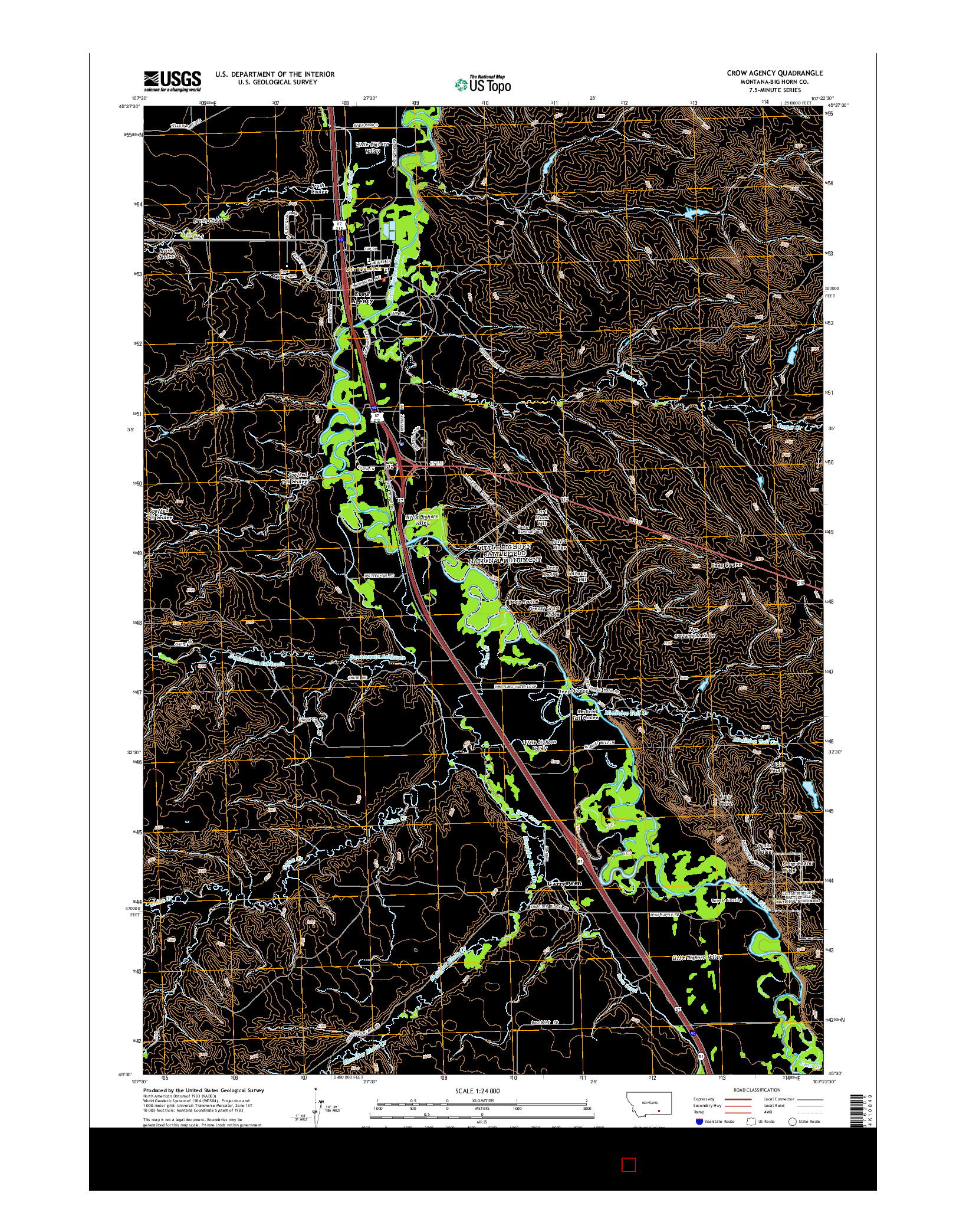 USGS US TOPO 7.5-MINUTE MAP FOR CROW AGENCY, MT 2014