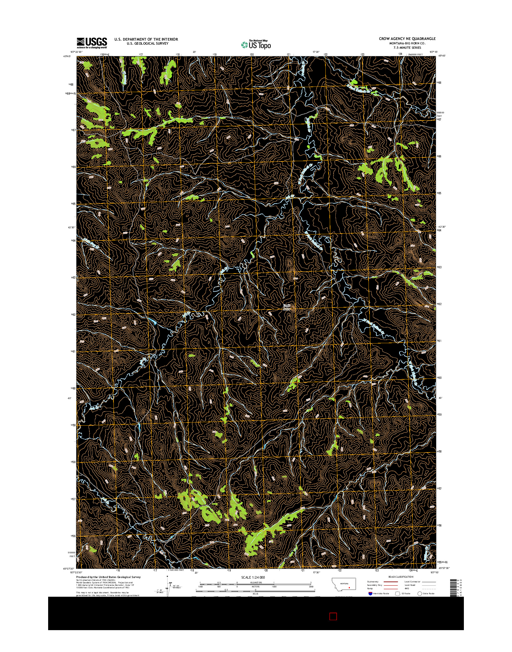 USGS US TOPO 7.5-MINUTE MAP FOR CROW AGENCY NE, MT 2014