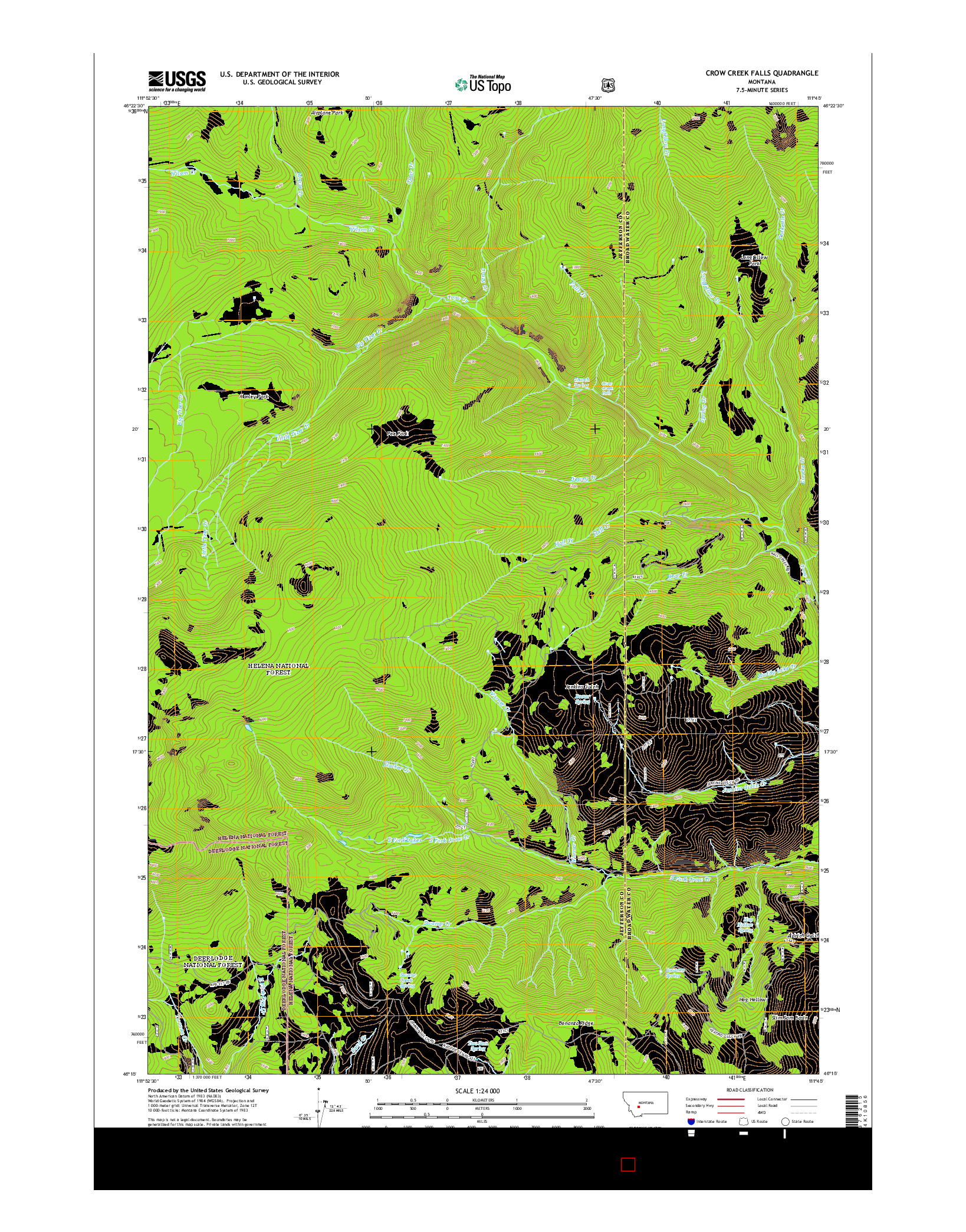 USGS US TOPO 7.5-MINUTE MAP FOR CROW CREEK FALLS, MT 2014