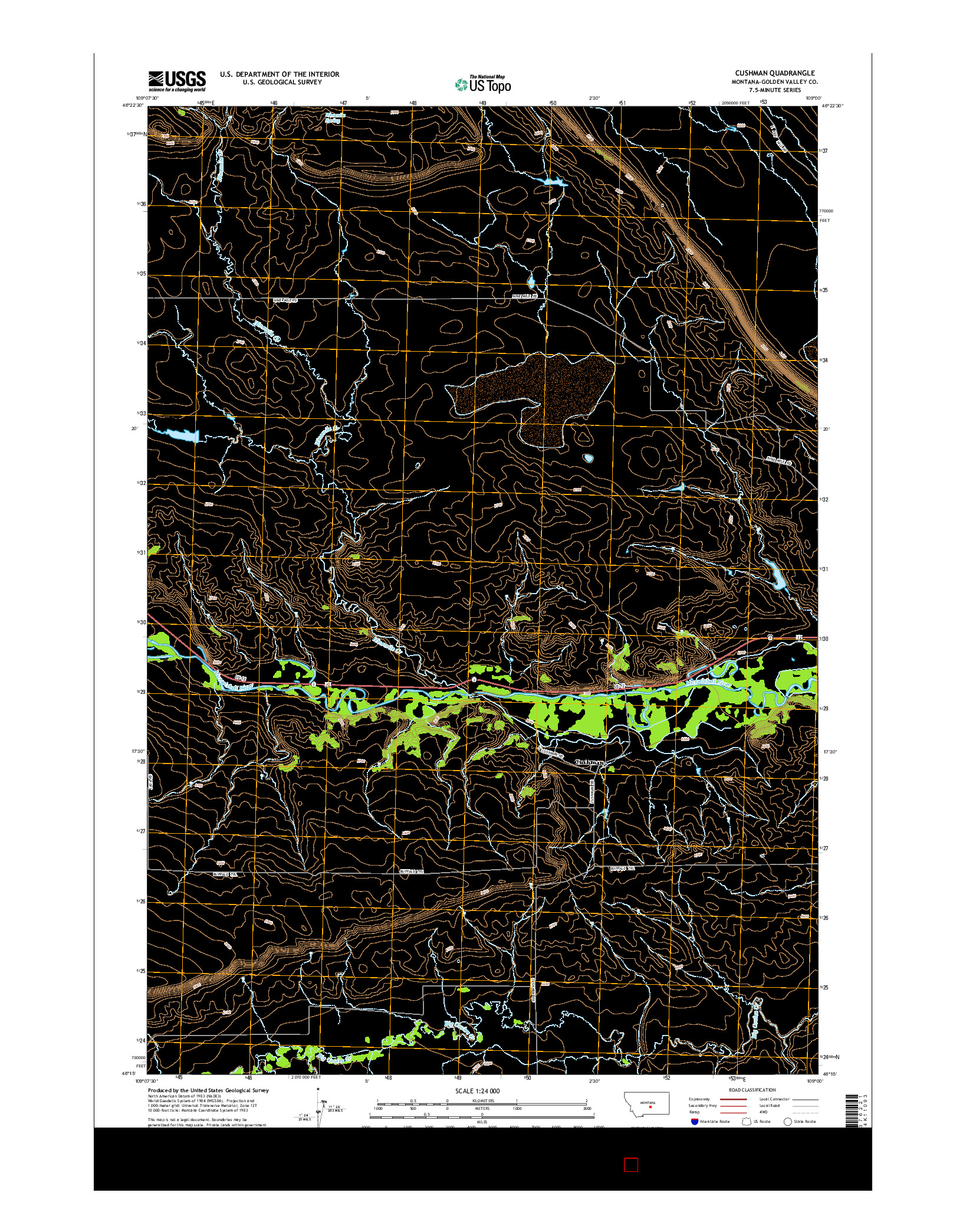 USGS US TOPO 7.5-MINUTE MAP FOR CUSHMAN, MT 2014