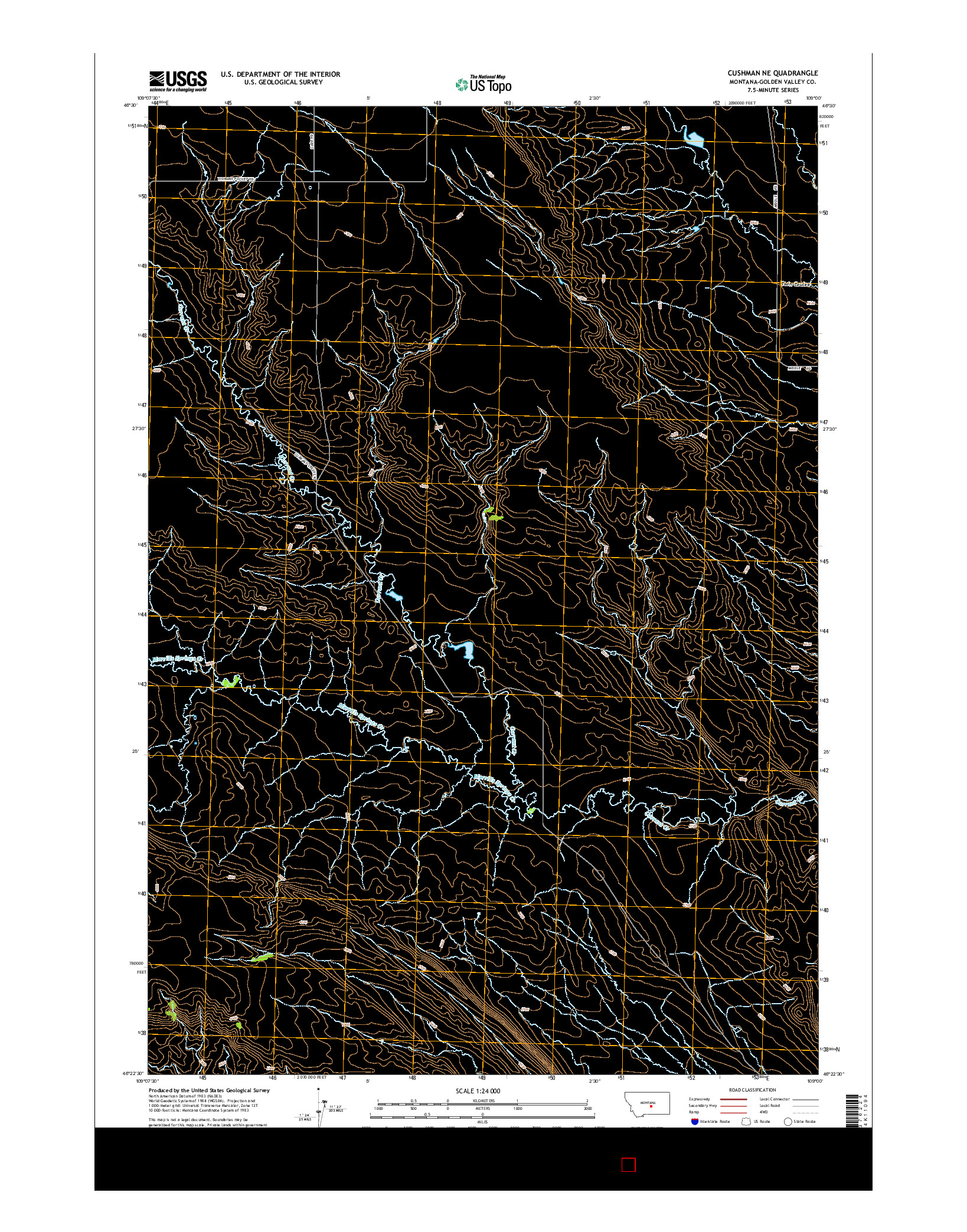 USGS US TOPO 7.5-MINUTE MAP FOR CUSHMAN NE, MT 2014