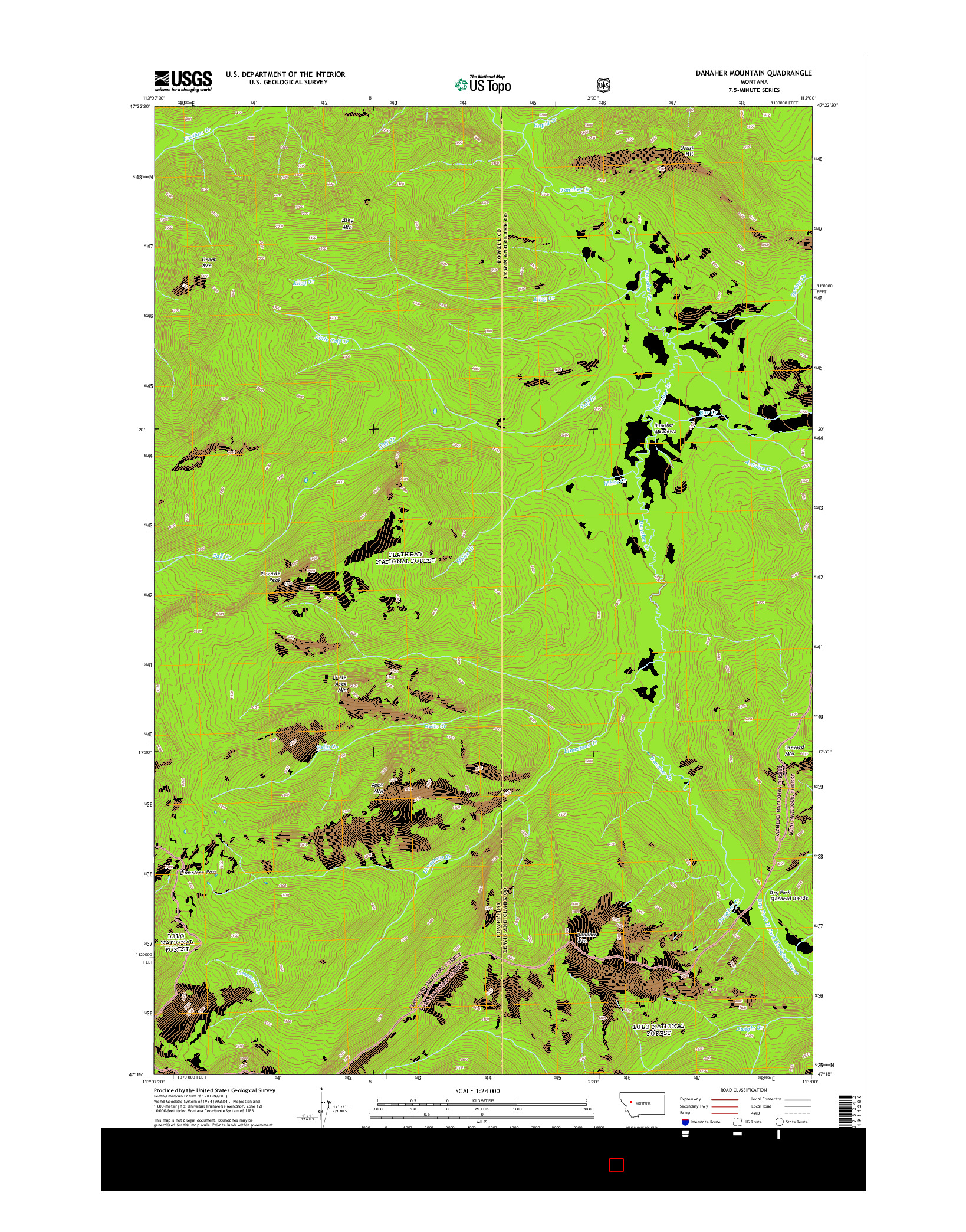 USGS US TOPO 7.5-MINUTE MAP FOR DANAHER MOUNTAIN, MT 2014