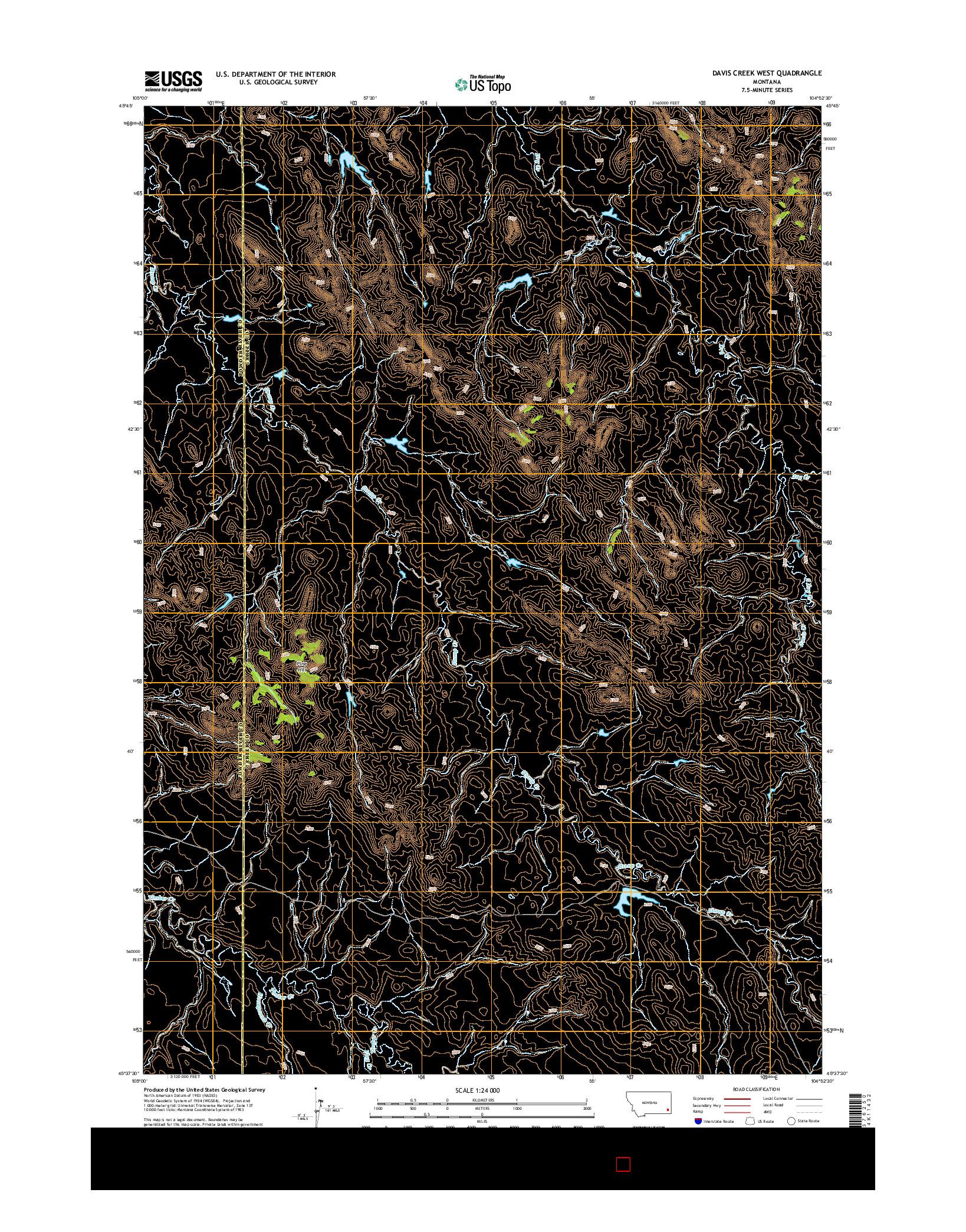 USGS US TOPO 7.5-MINUTE MAP FOR DAVIS CREEK WEST, MT 2014
