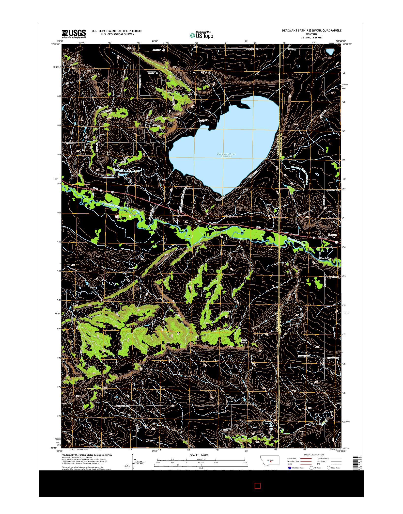 USGS US TOPO 7.5-MINUTE MAP FOR DEADMANS BASIN RESERVOIR, MT 2014
