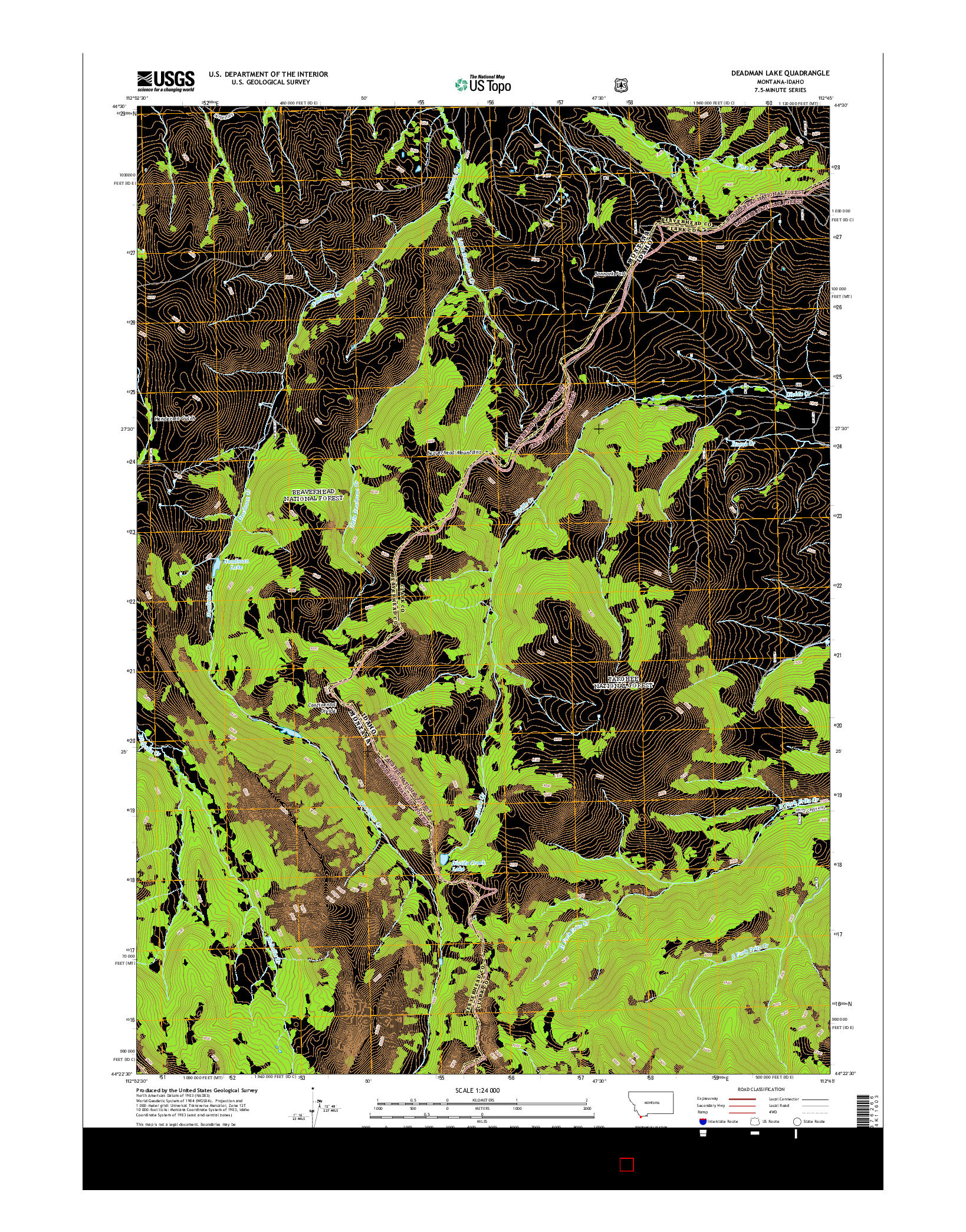 USGS US TOPO 7.5-MINUTE MAP FOR DEADMAN LAKE, MT-ID 2014