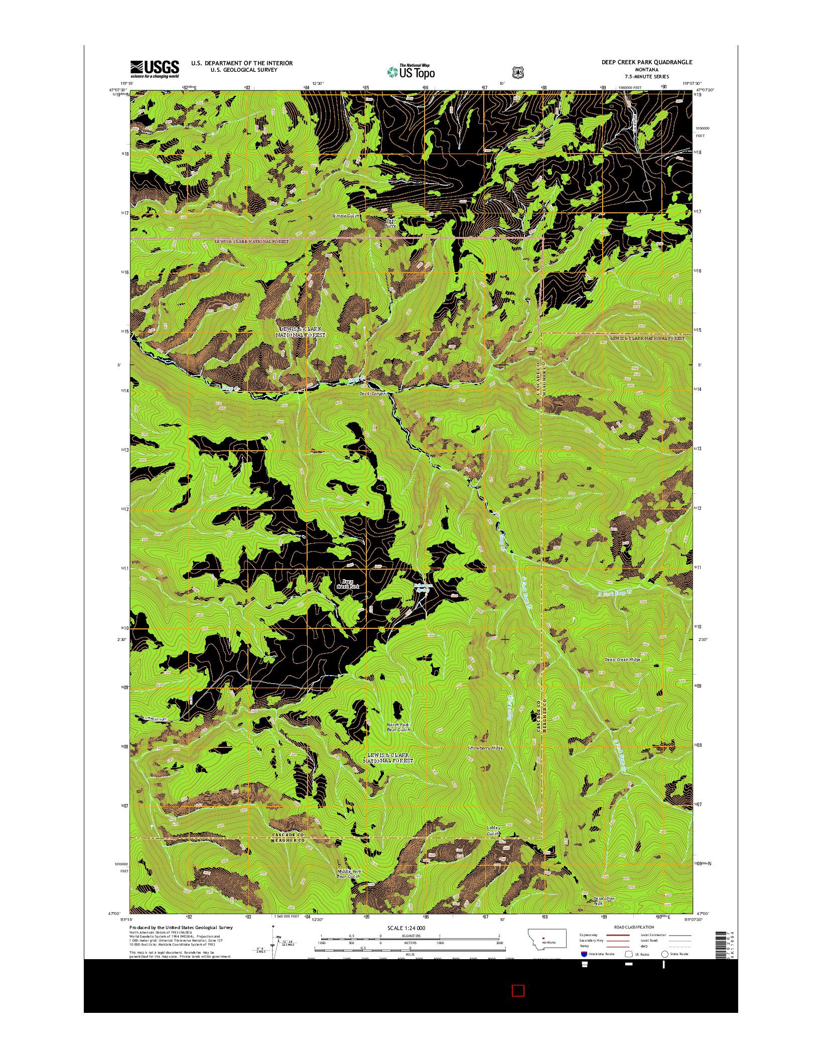 USGS US TOPO 7.5-MINUTE MAP FOR DEEP CREEK PARK, MT 2014