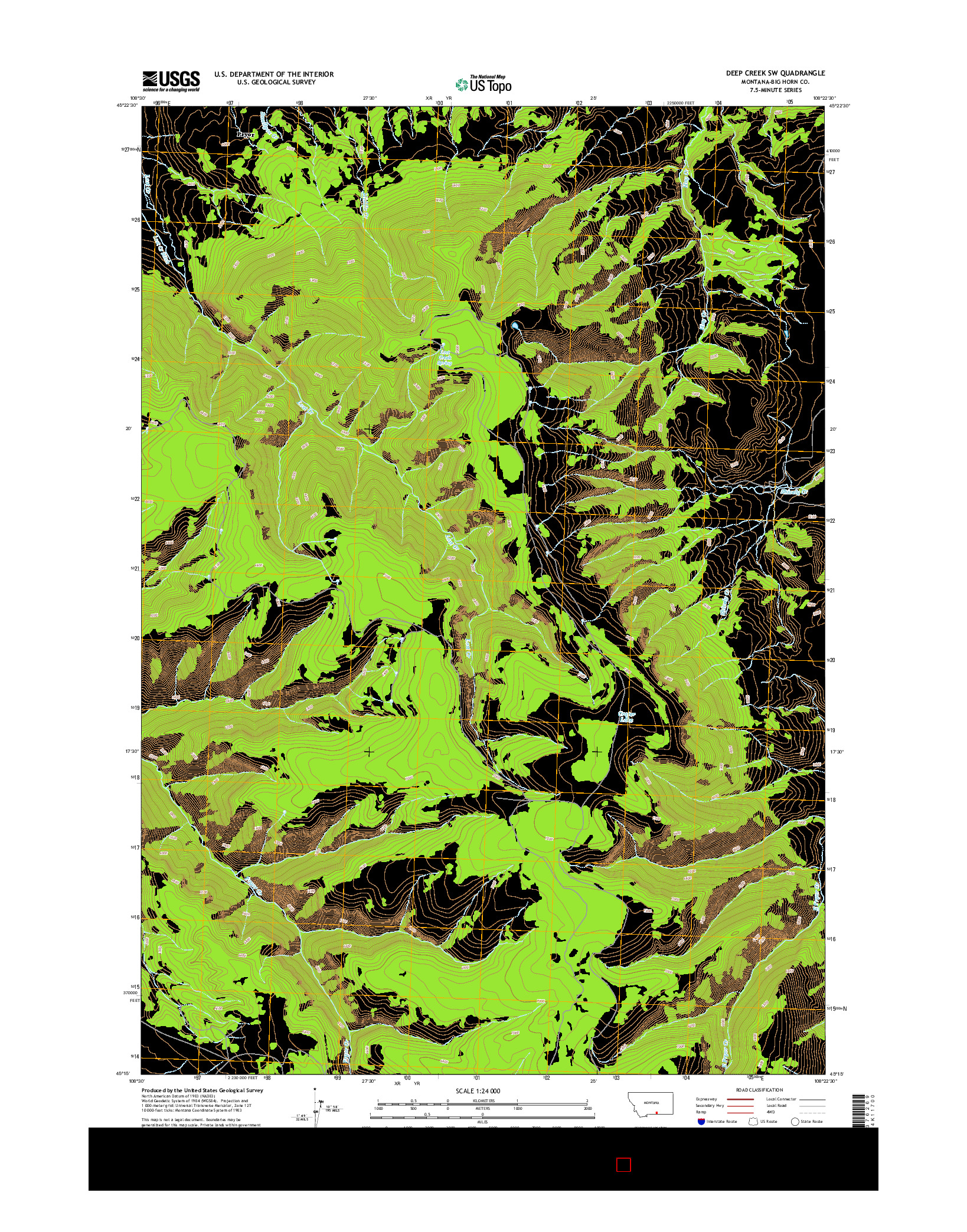 USGS US TOPO 7.5-MINUTE MAP FOR DEEP CREEK SW, MT 2014
