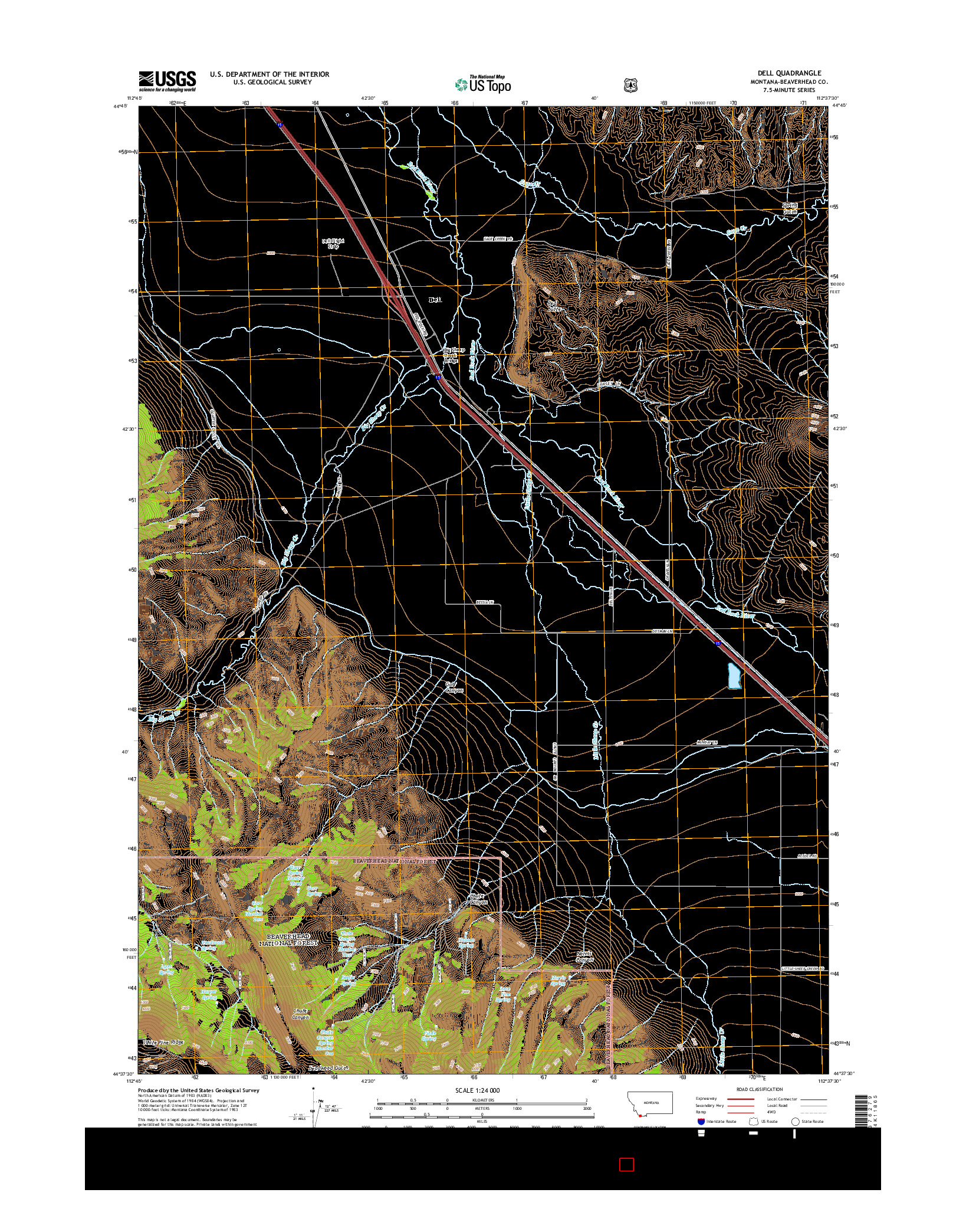USGS US TOPO 7.5-MINUTE MAP FOR DELL, MT 2014
