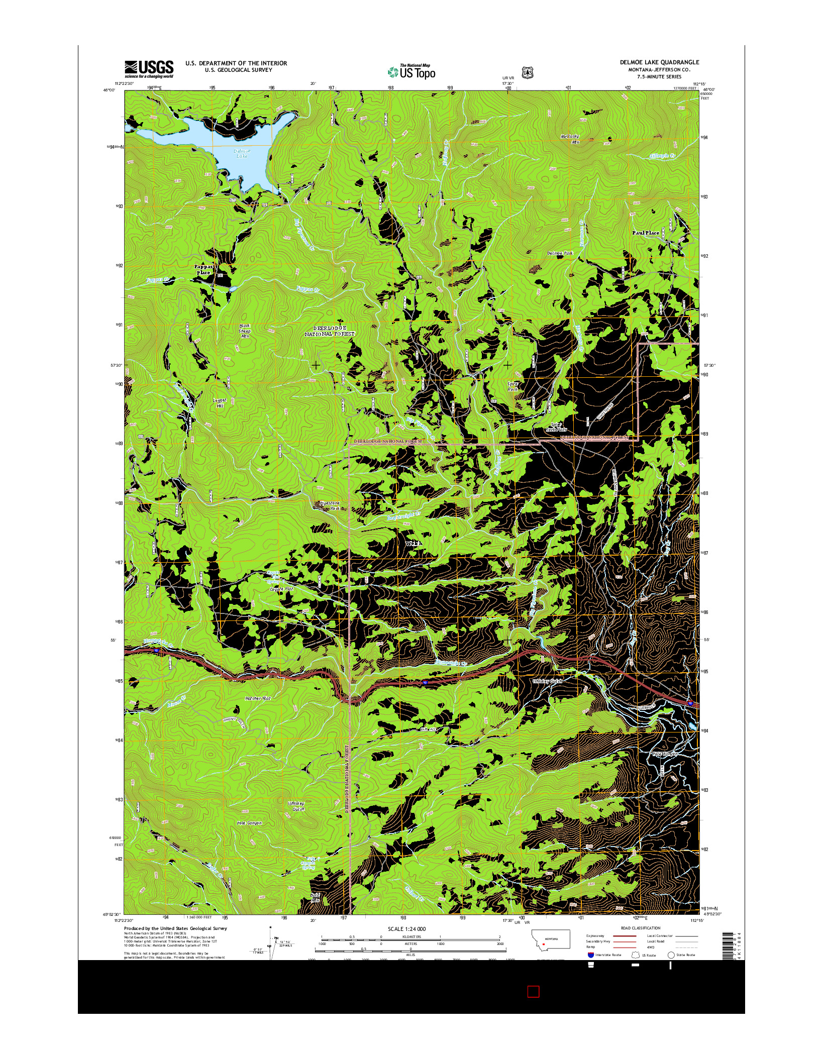 USGS US TOPO 7.5-MINUTE MAP FOR DELMOE LAKE, MT 2014